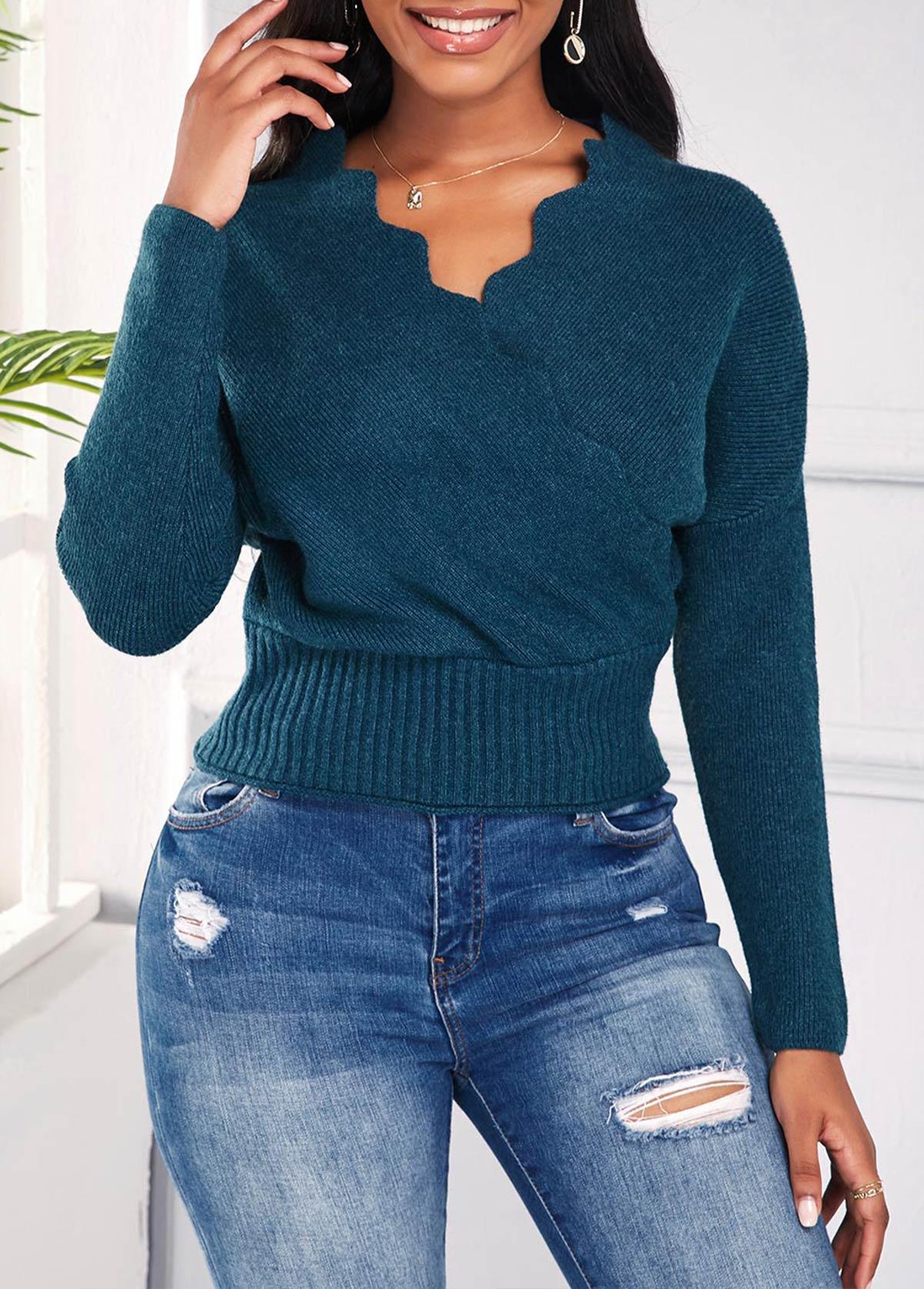 ROTITA Scalloped Hem Long Sleeve V Neck Sweater