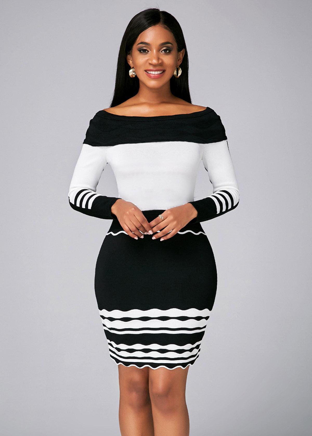 ROTITA Boat Neck Contrast Striped Sweater Dress