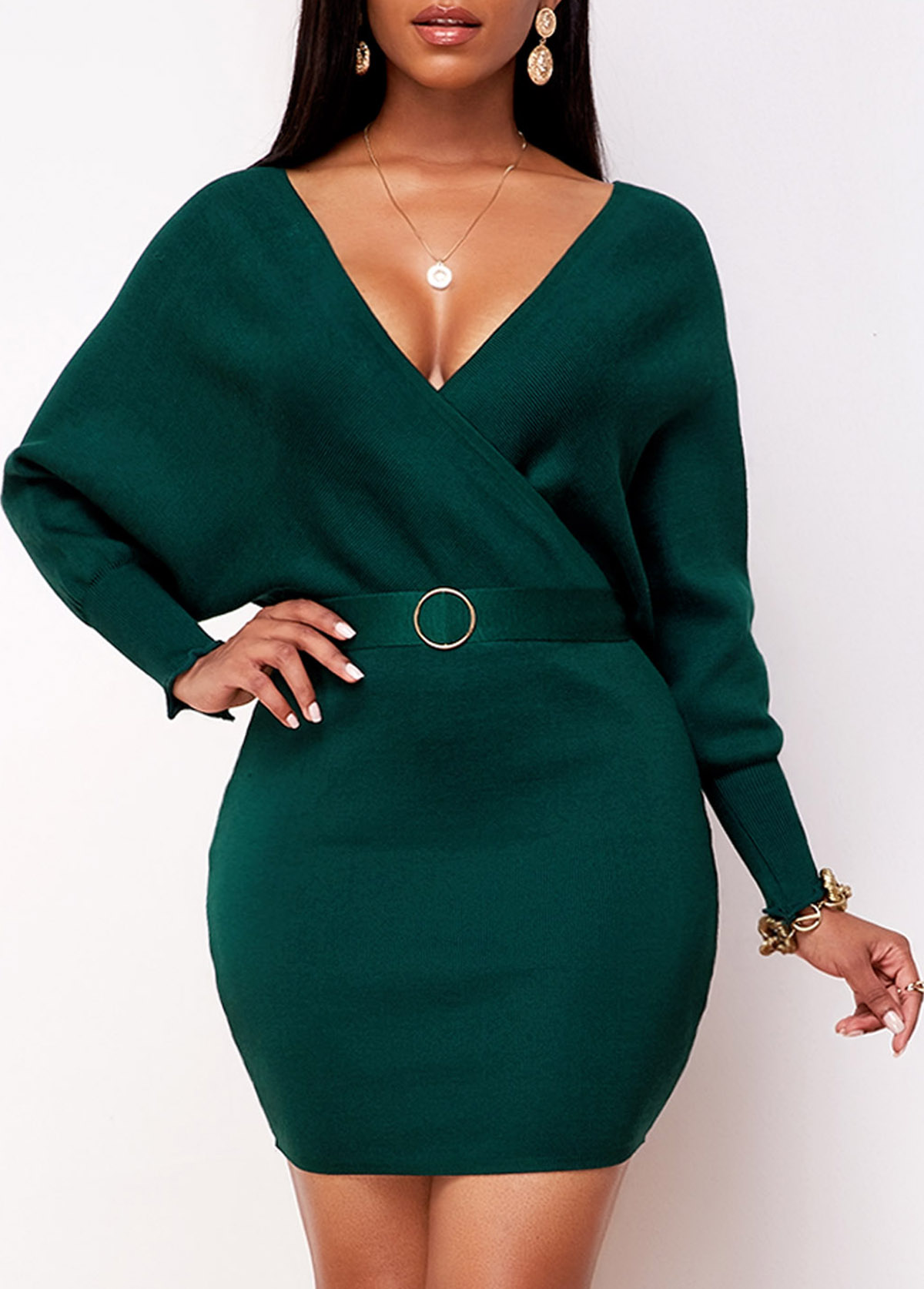 ROTITA Plunging Neck Knitted Belted Wrap Dress