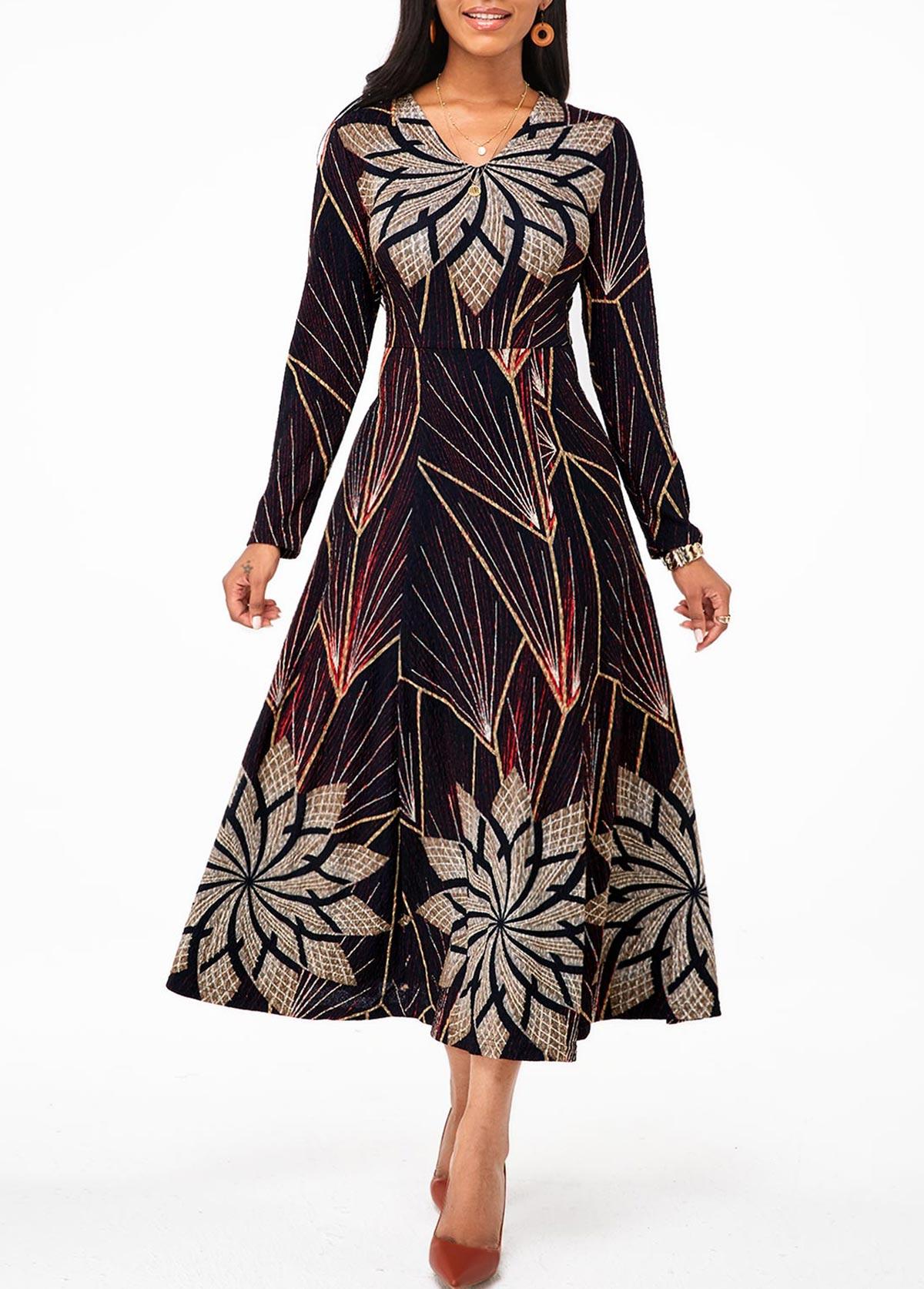 ROTITA  Long Sleeve Tribal Print V Neck Dress