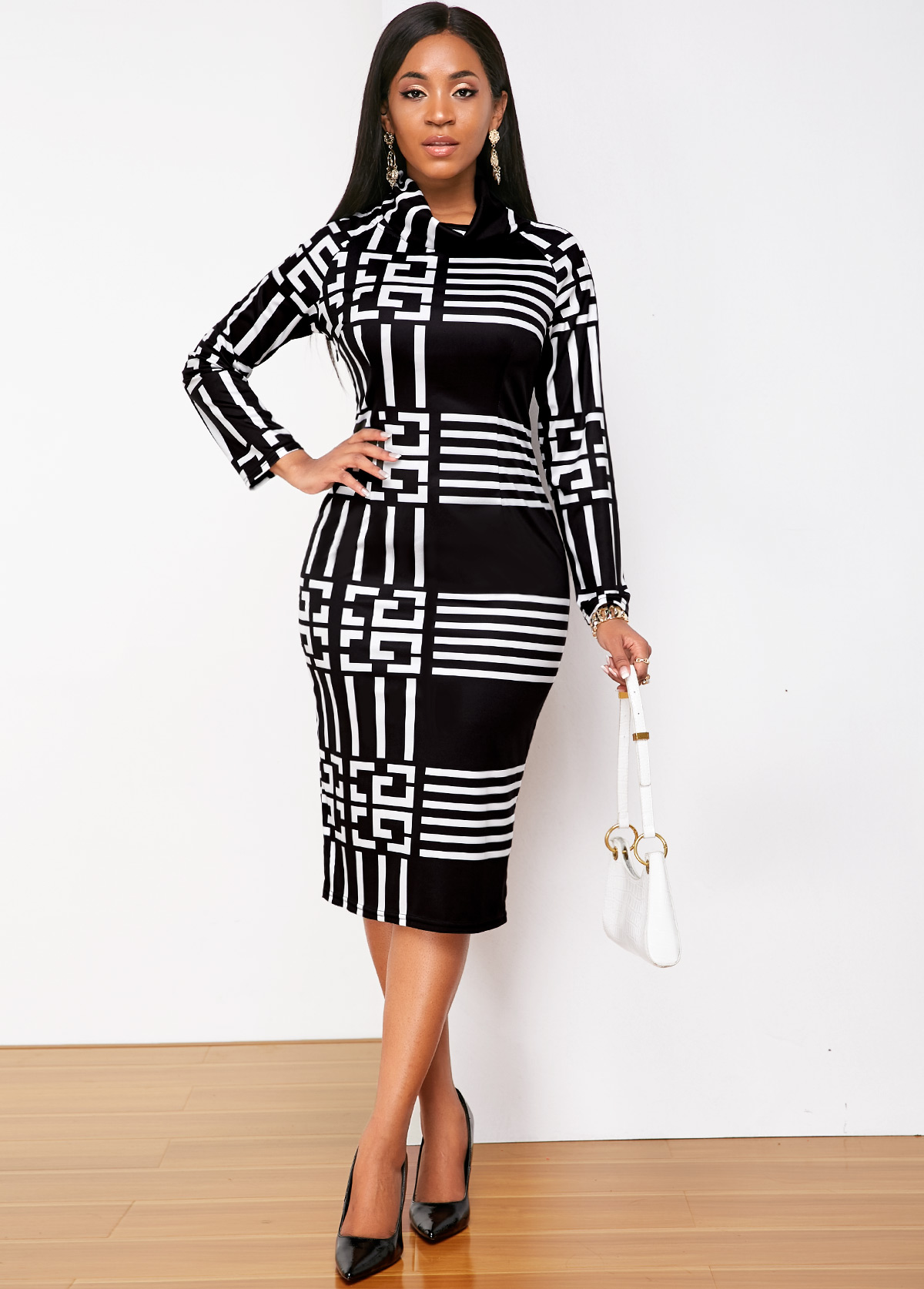 ROTITA Long Sleeve Geometric Print Turtleneck Dress