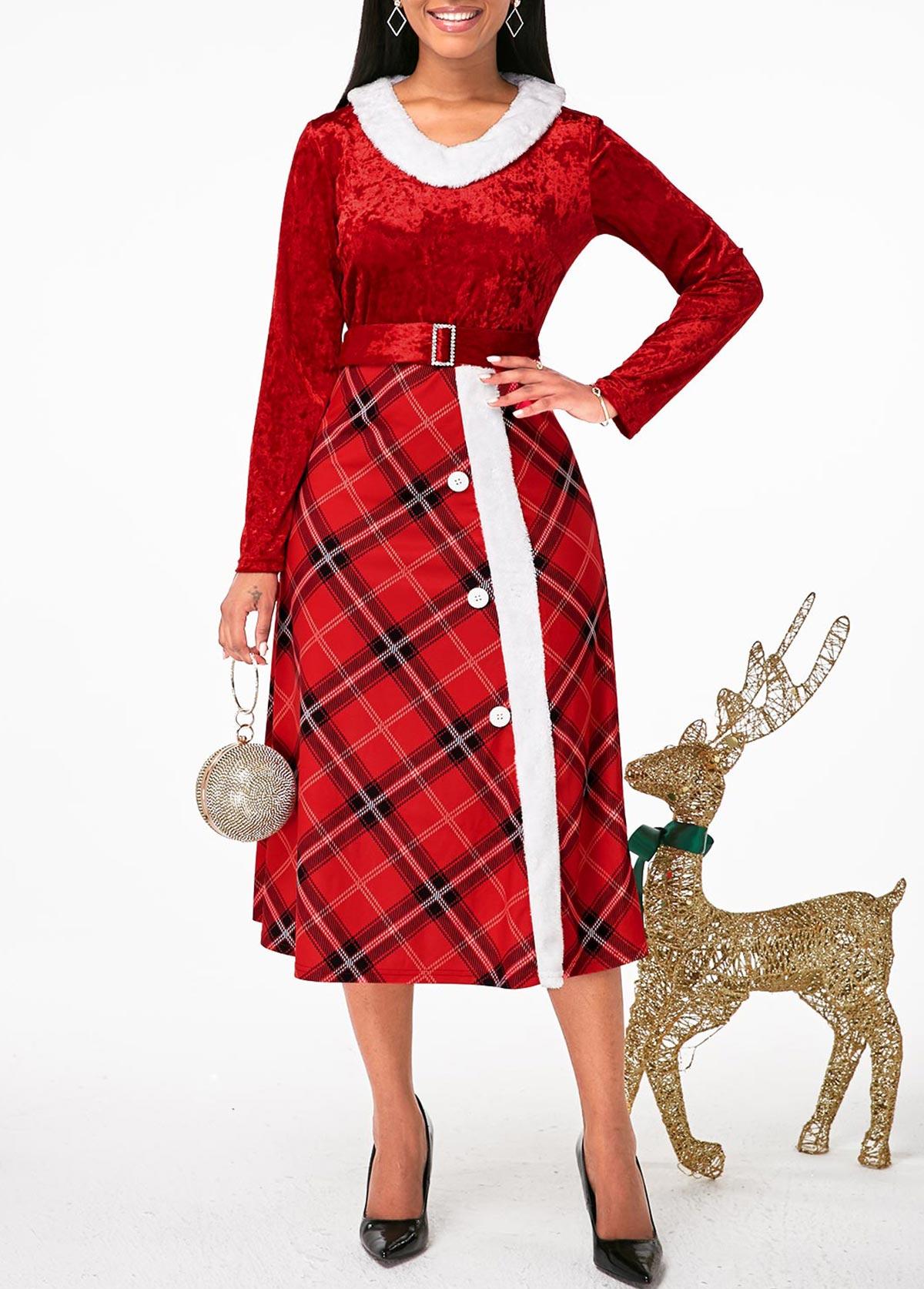 ROTITA Buckle Belted Faux Fur Collar Plaid Print Dress
