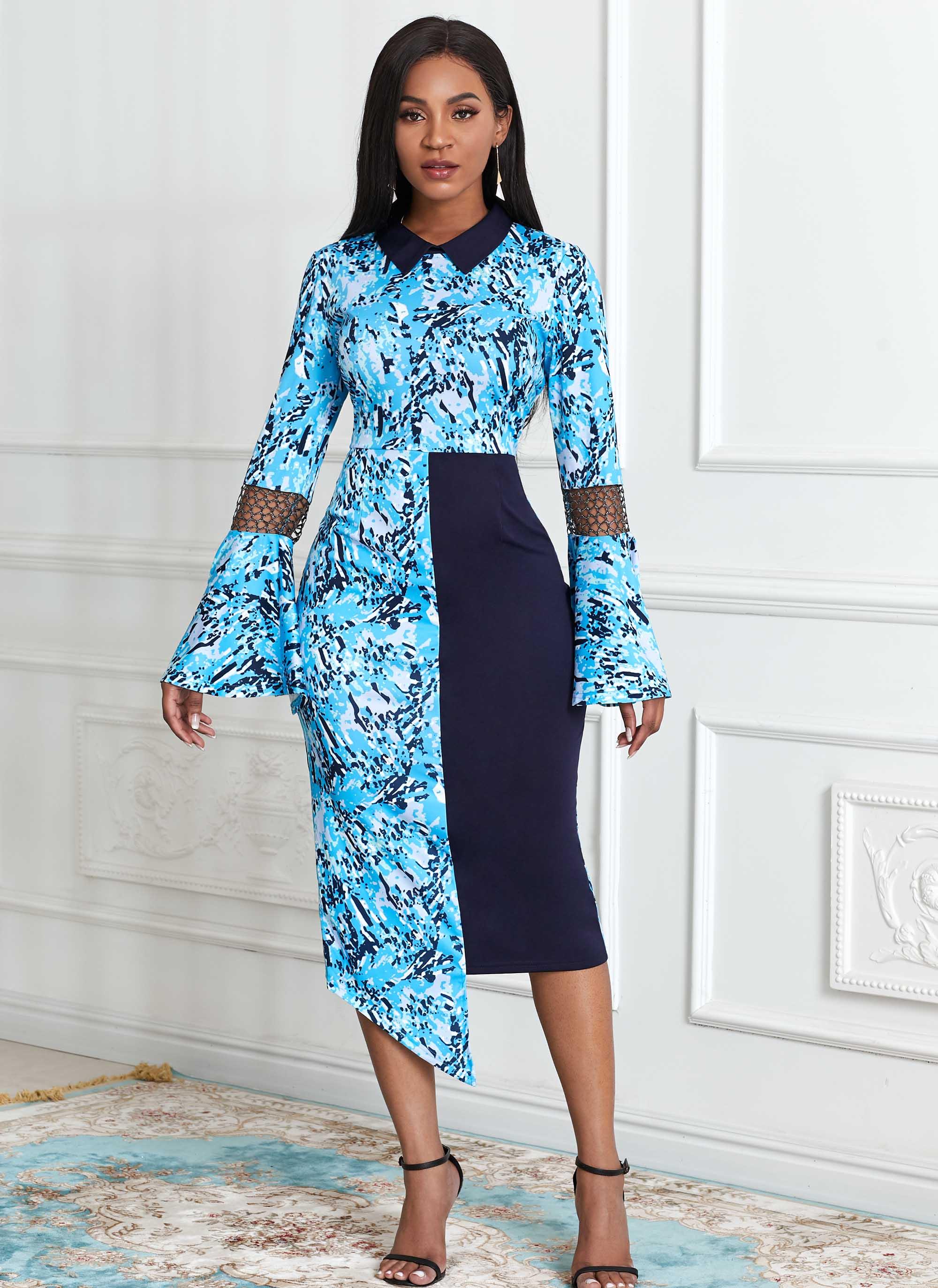 ROTITA Asymmetric Hem Flare Sleeve Tribal Print Dress