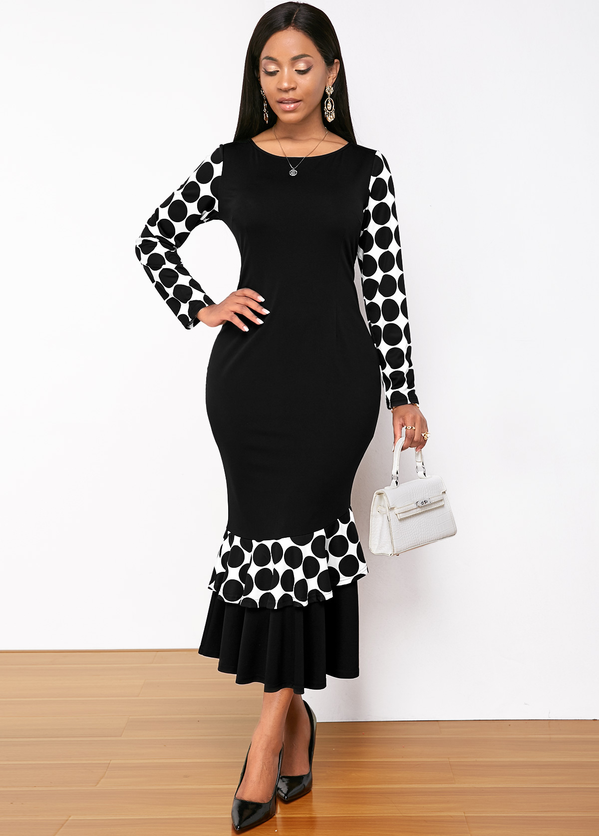 ROTITA Long Sleeve Polka Dot Print Round Neck Mermaid Dress