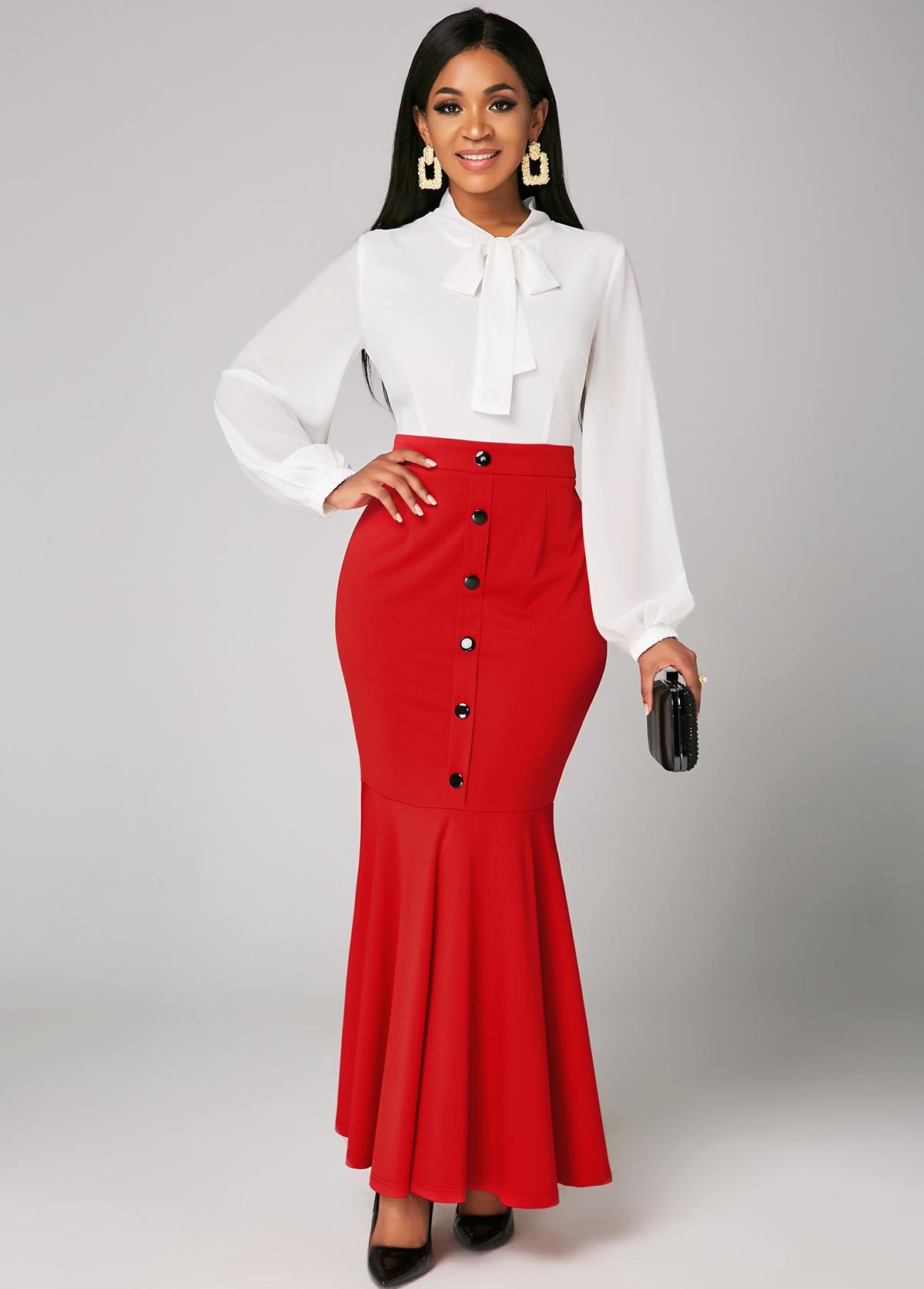 ROTITA Color Block Button Bowknot Mermaid Dress