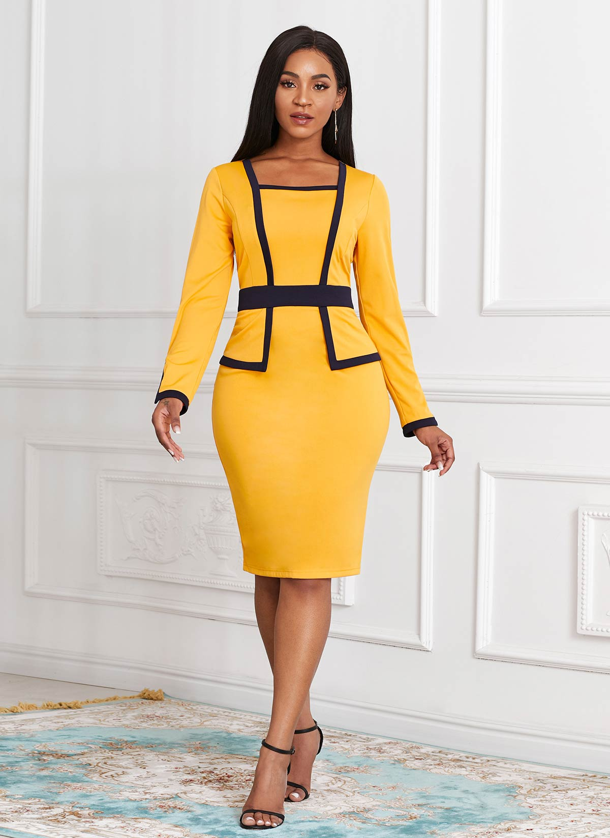 ROTITA Long Sleeve Faux Two Piece Contrast Dress