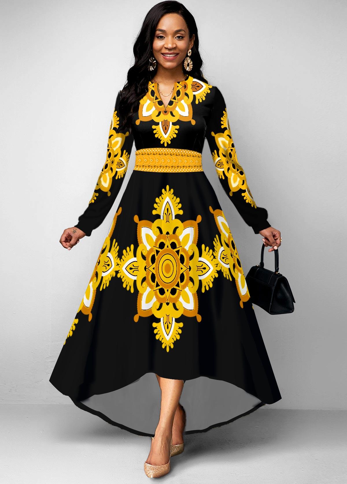 ROTITA Long Sleeve Tribal Print High Low Dress