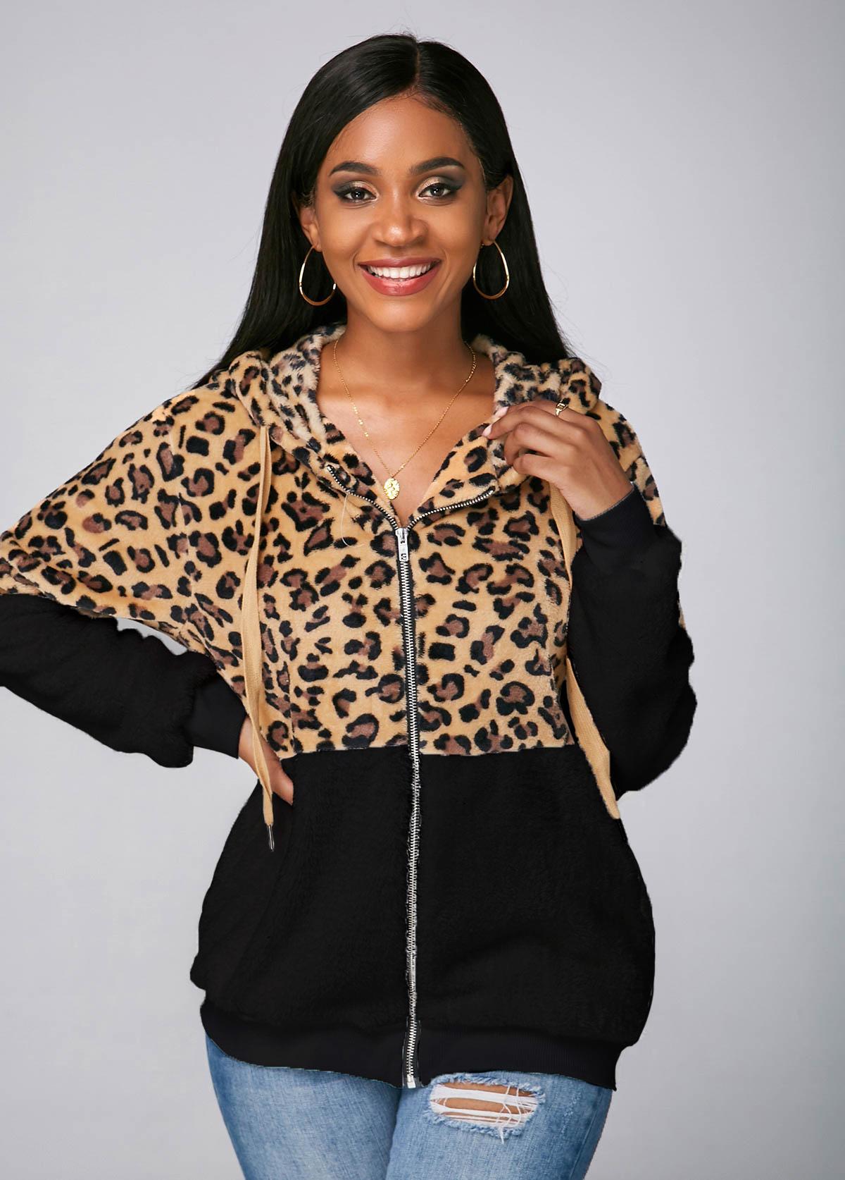 Zipper Closure Pocket Hooded Collar Leopard Jacket