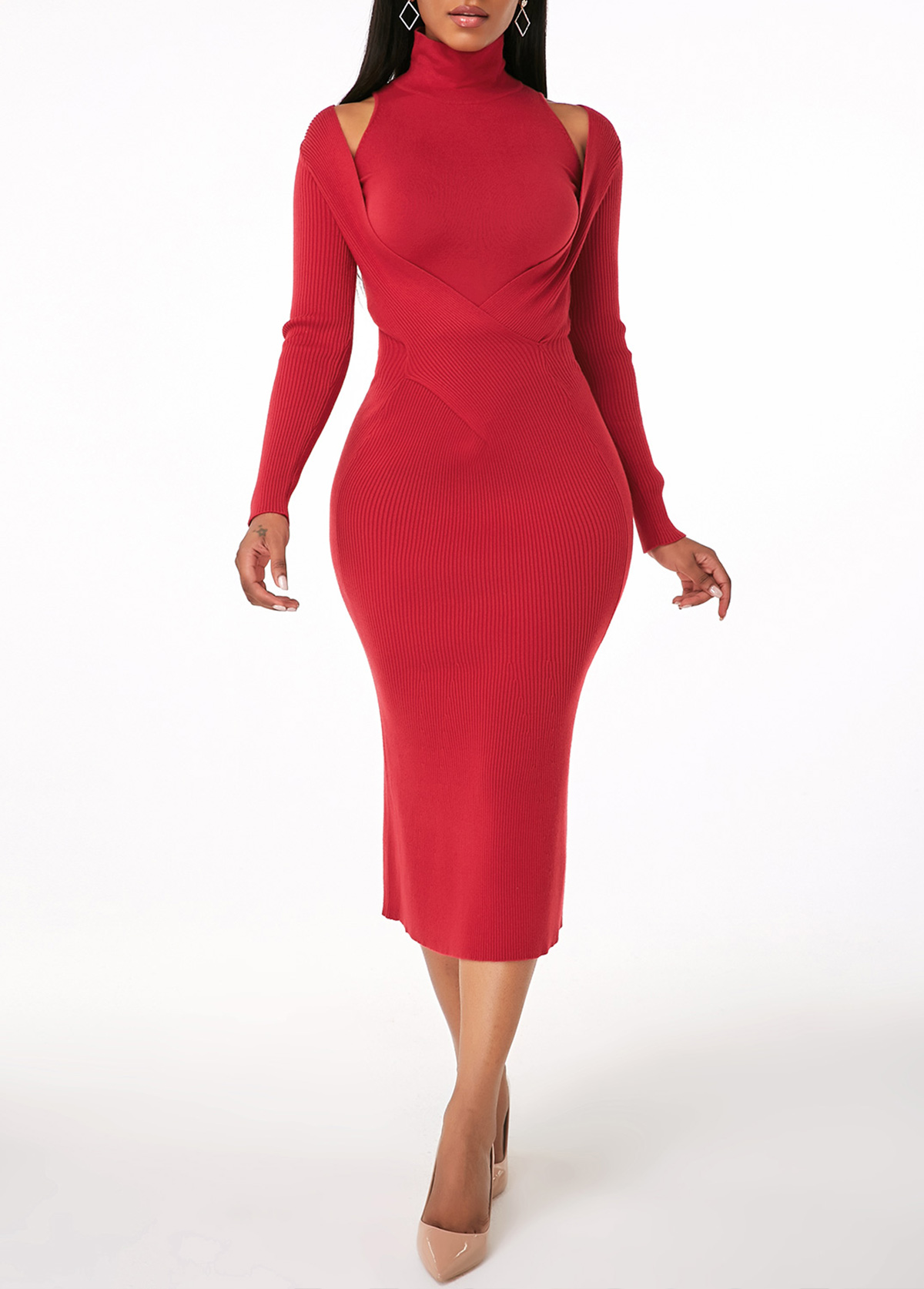 ROTITA Red Turtleneck Tank Top and Sweater Dress