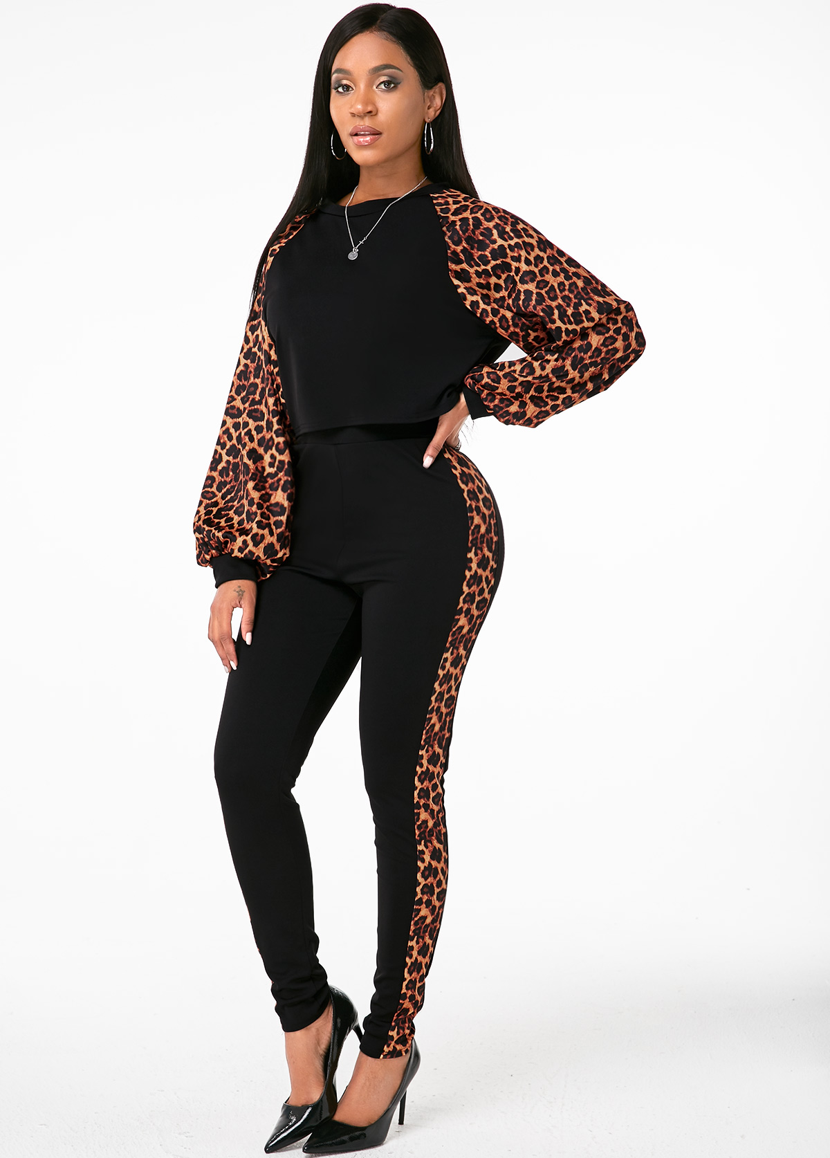 Long Sleeve Leopard Round Neck Top and Pants