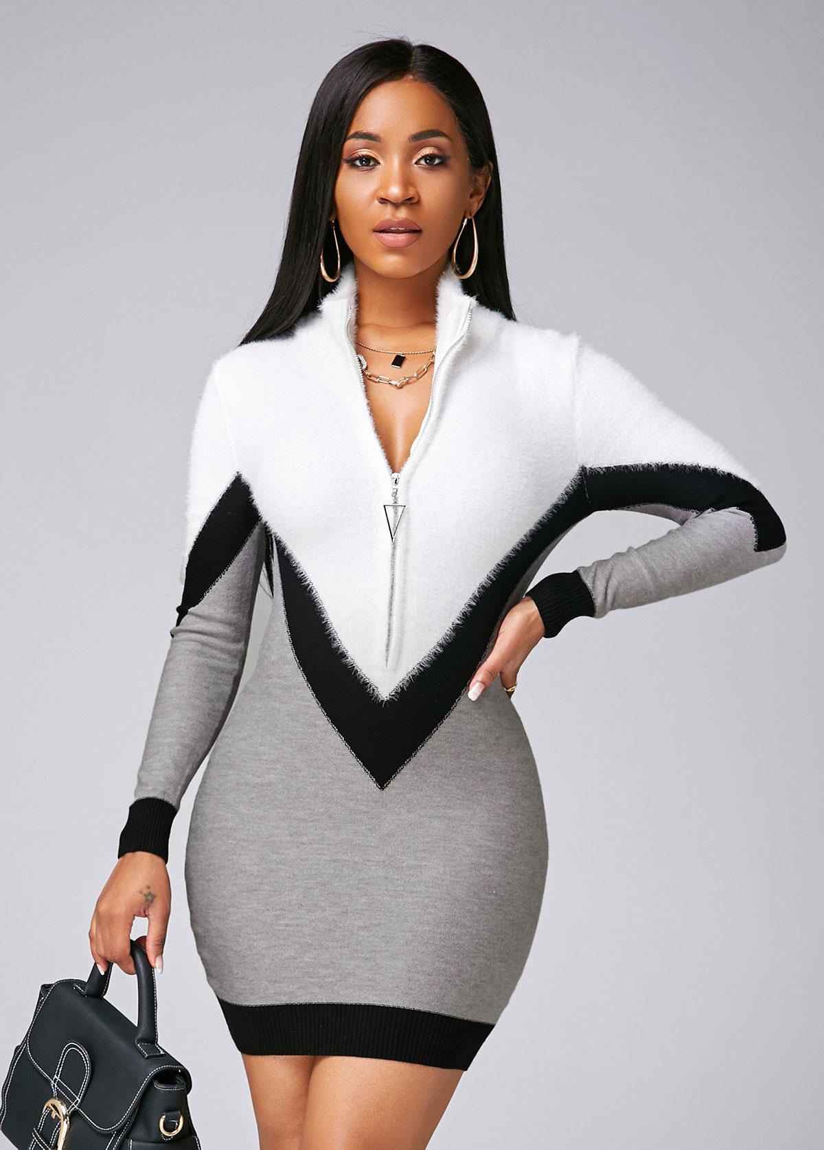 ROTITA Quarter Zip Color Block Long Sleeve Sweater Dress