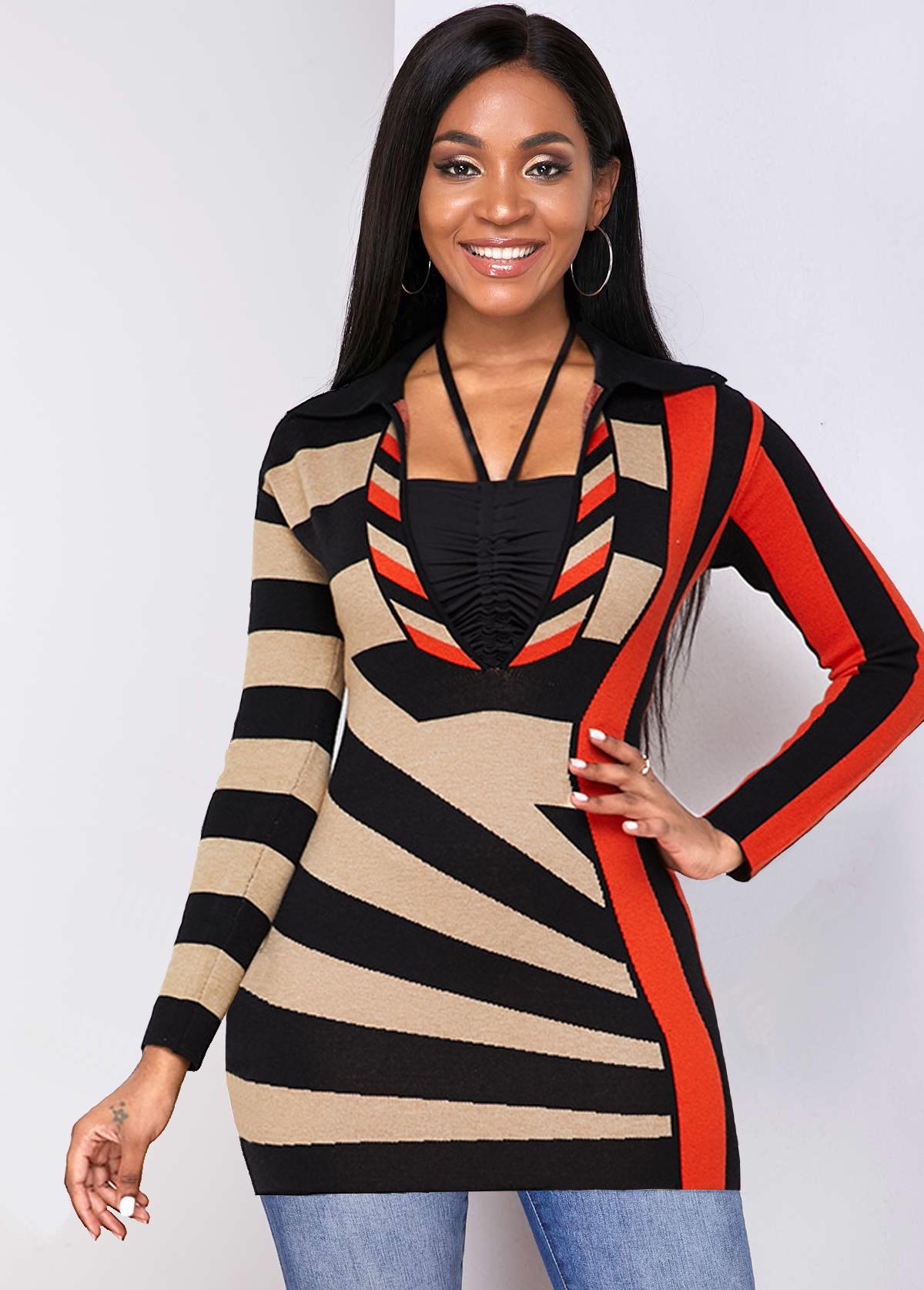 ROTITA Geometric Pattern Contrast Long Sleeve Sweater