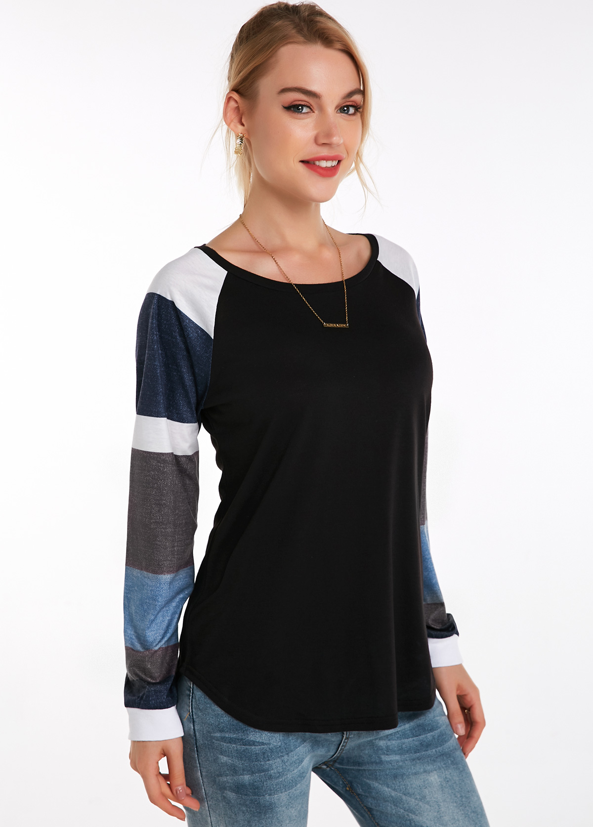 Long Sleeve Contrast Round Neck T Shirt