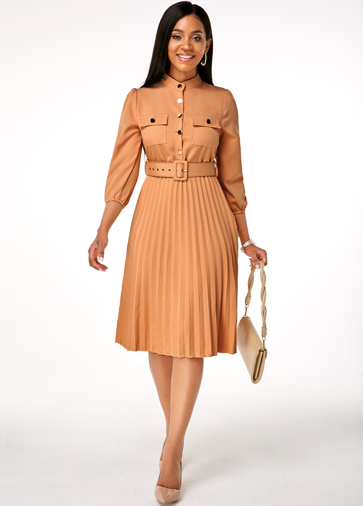 Buckle Belted Pleated Hem Button Up Dress