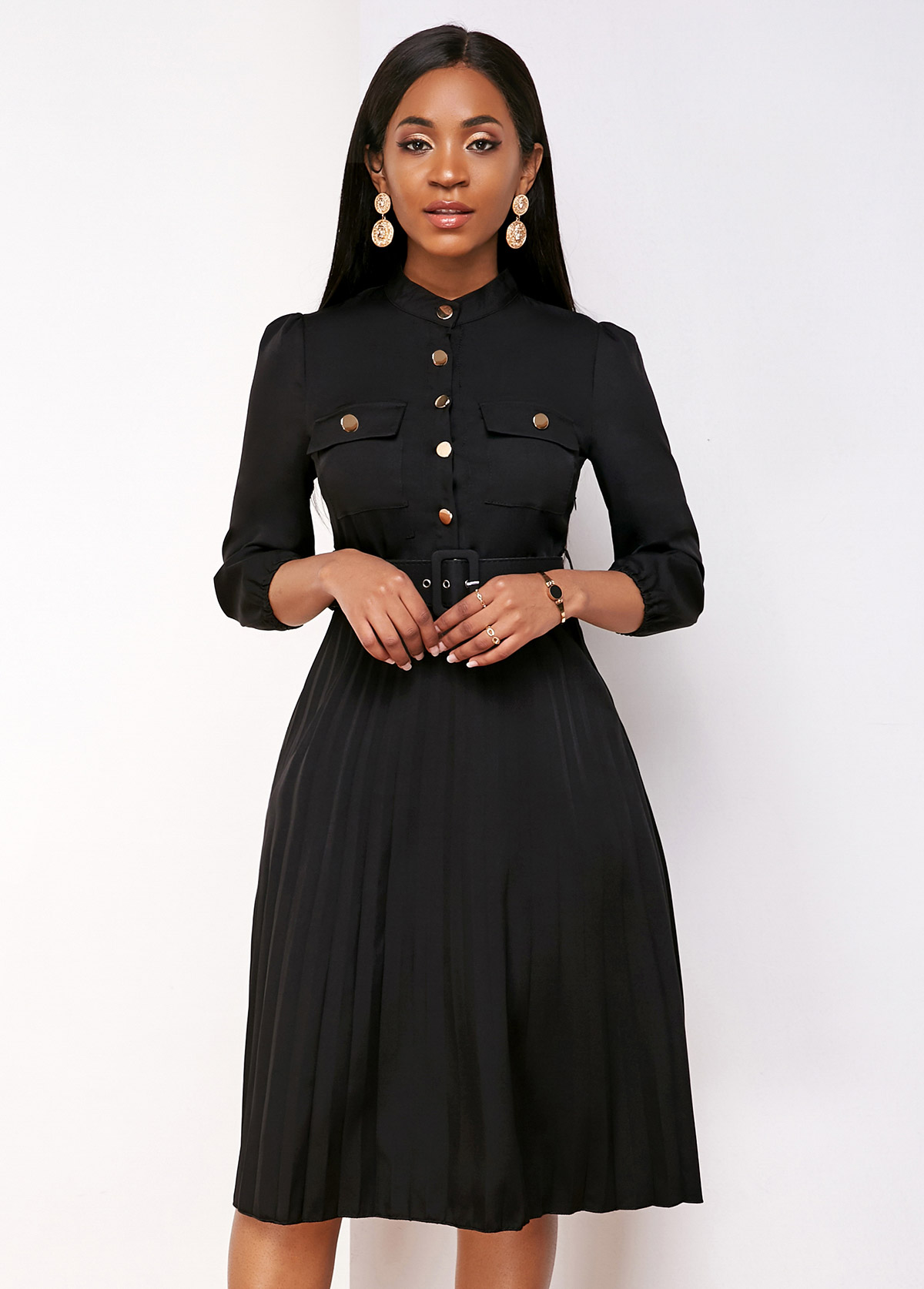 Pleated Hem Buckle Belted Button Up Dress
