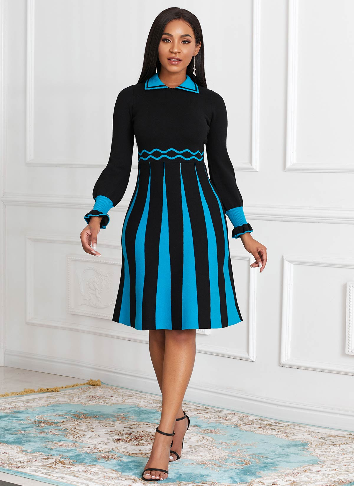 ROTITA Long Sleeve Color Block Sweater Dress