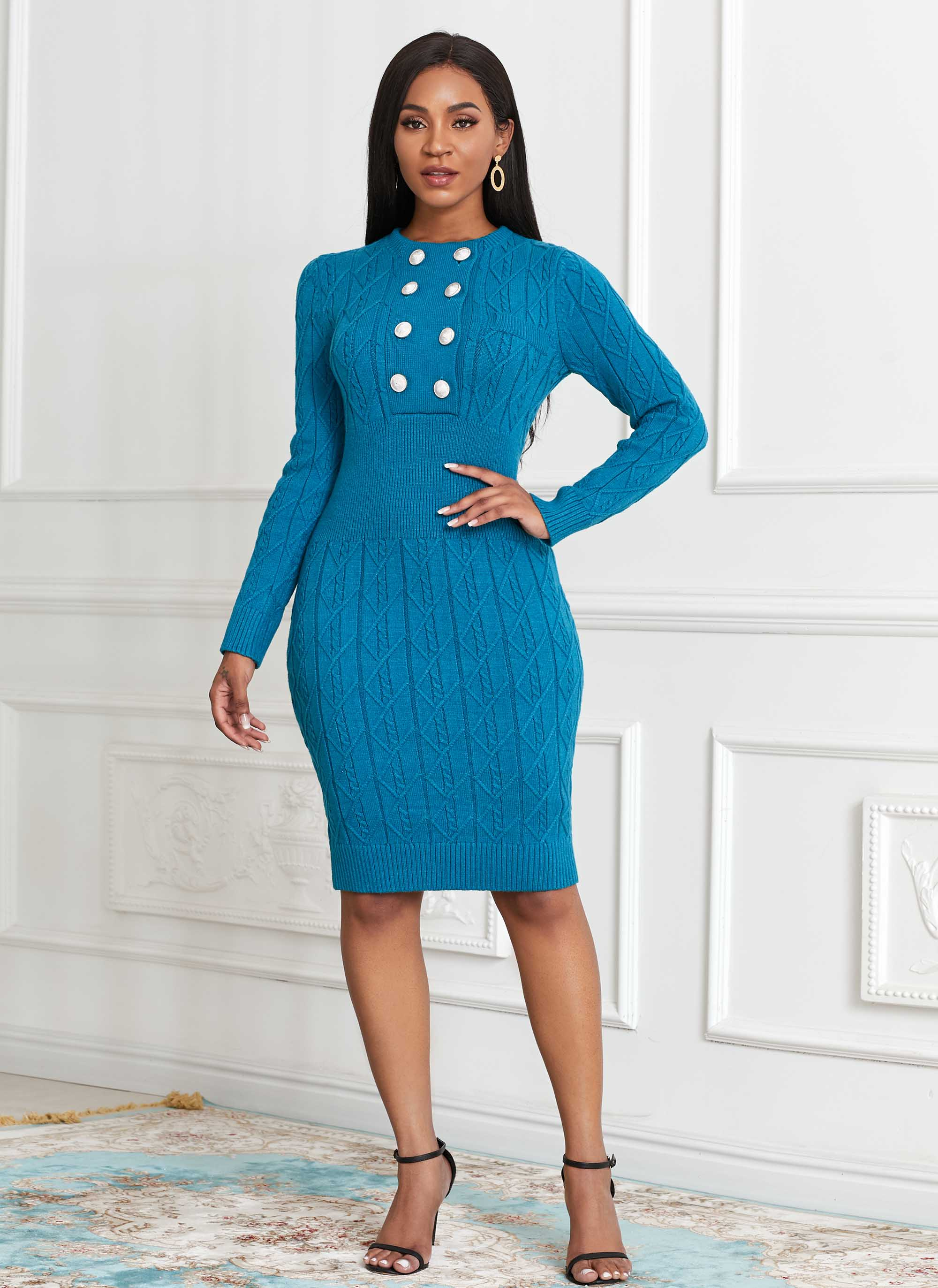 ROTITA Long Sleeve Double Breasted Sweater Dress