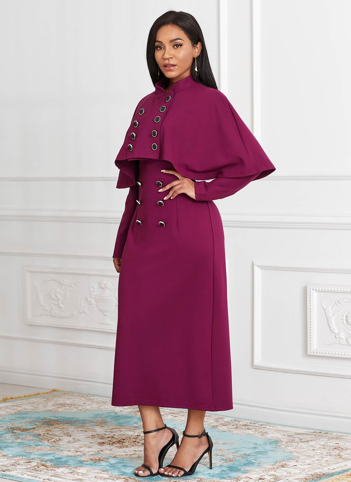 ROTITA Cape and Long Sleeve Button Front Dress