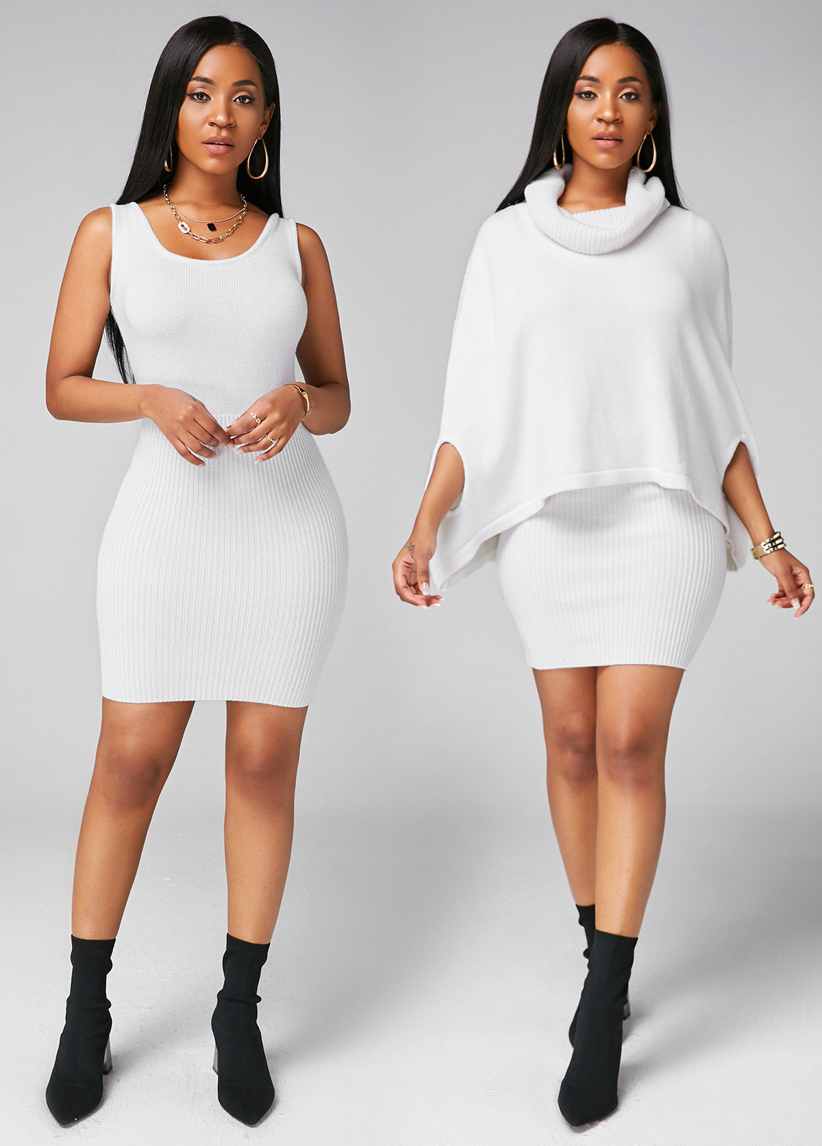 ROTITA Cape Shoulder Cowl Neck Top and Sweater Dress