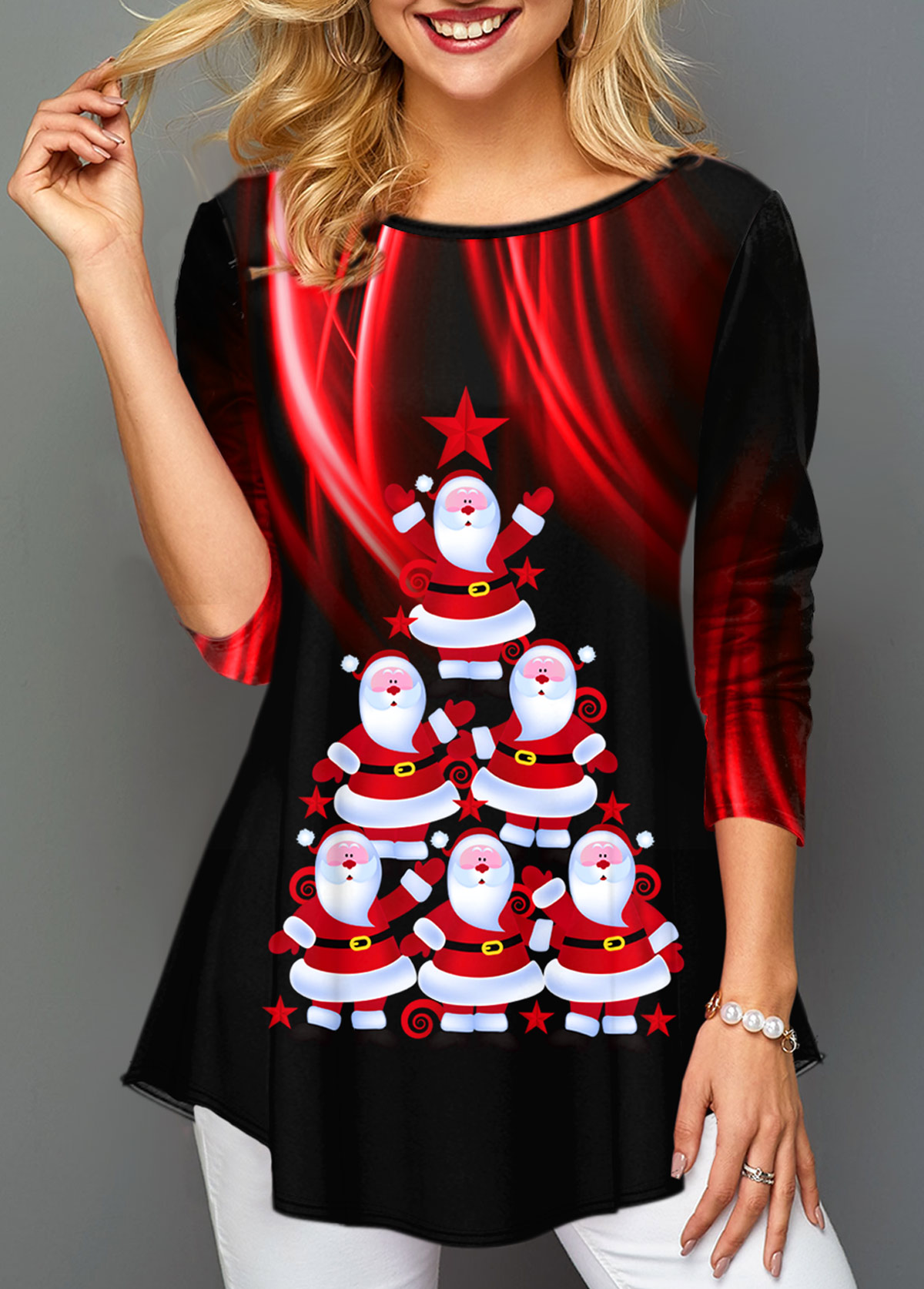 ROTITA Santa Claus Print Long Sleeve T Shirt