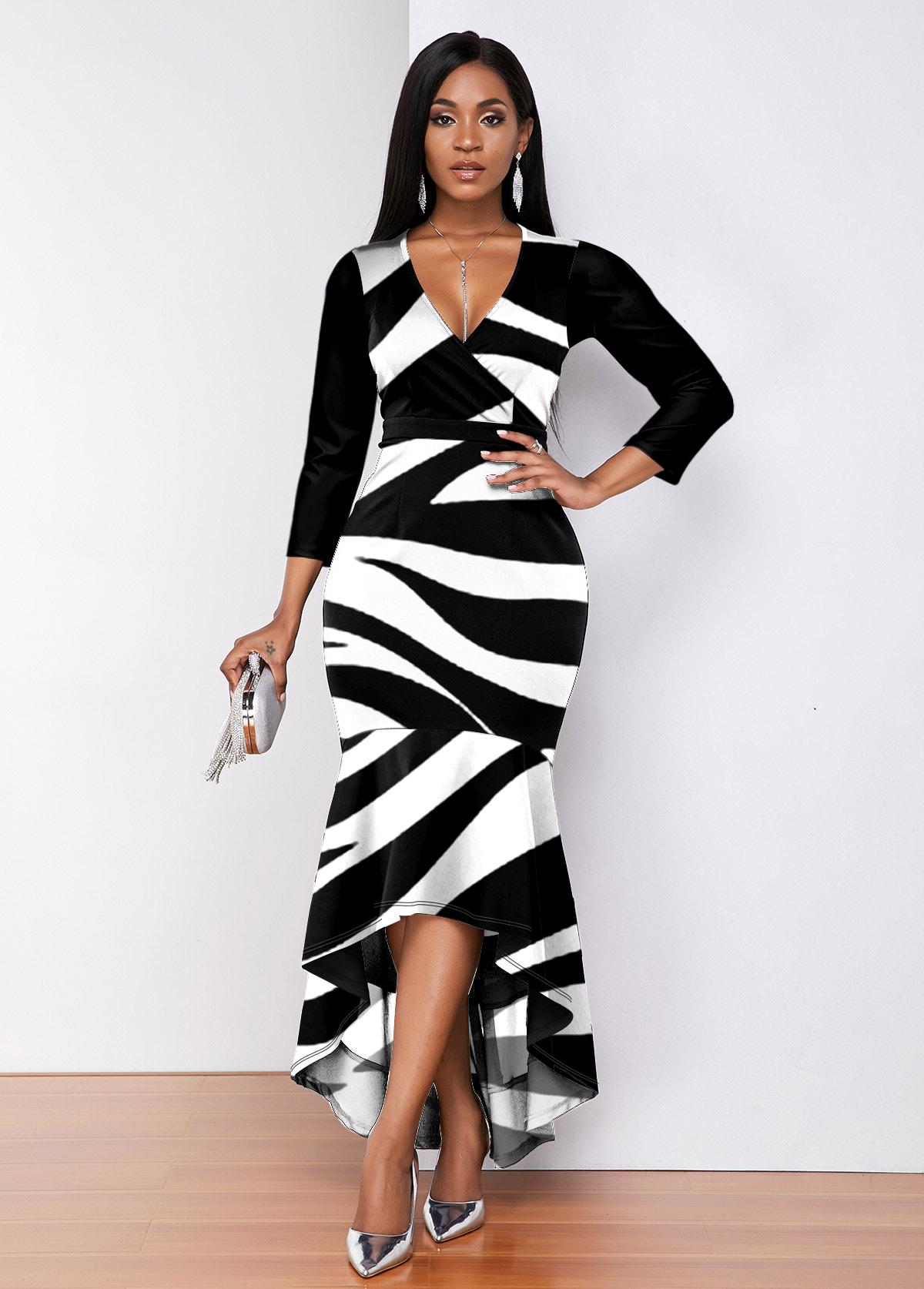 ROTITA Zebra Print Plunging Neck High Low Dress