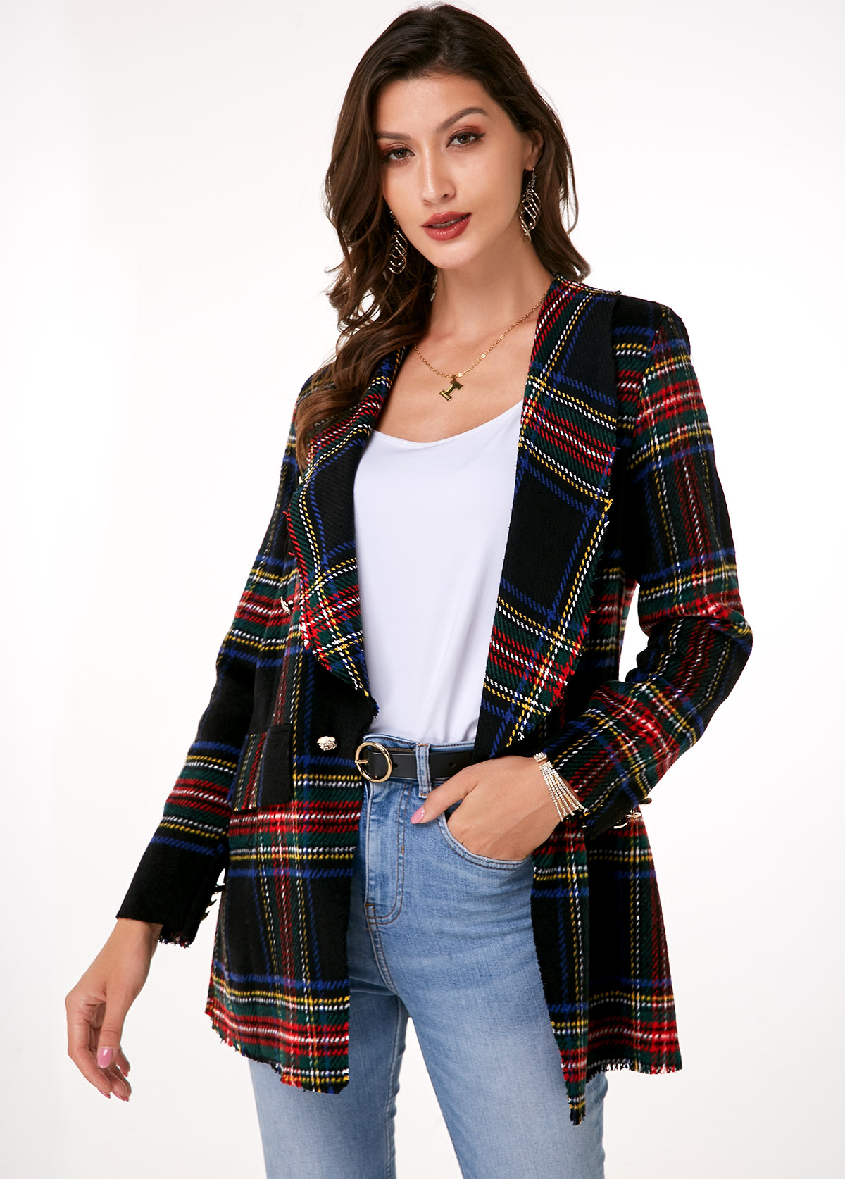 Notch Collar Long Sleeve Plaid Blazer