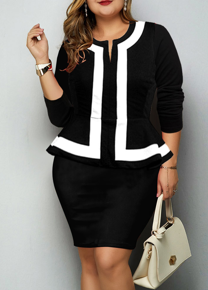 ROTITA Plus Size Faux Two Piece Contrast Piping Dress