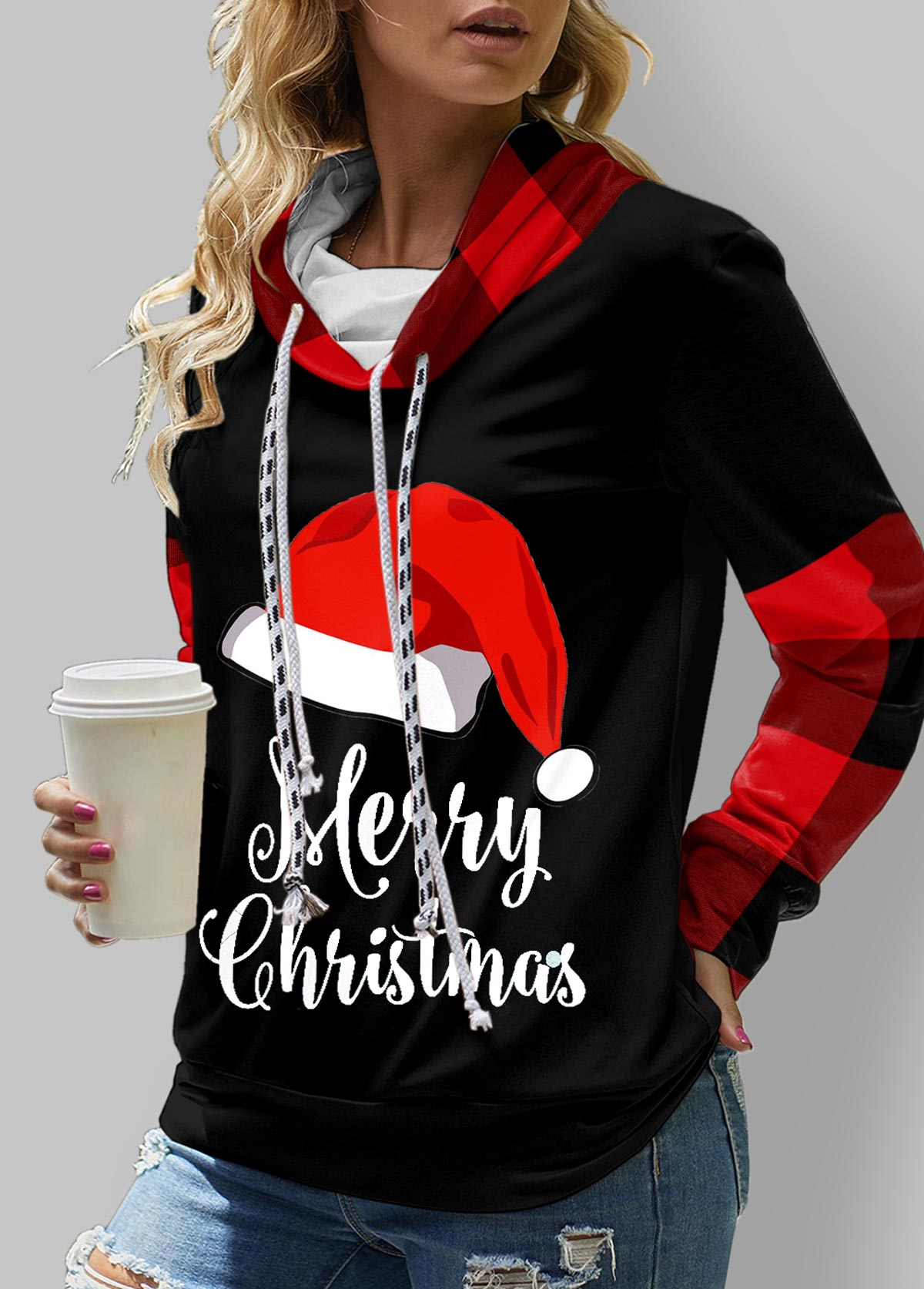 ROTITA Christmas Print Long SleeveCowl Neck  Sweatshirt