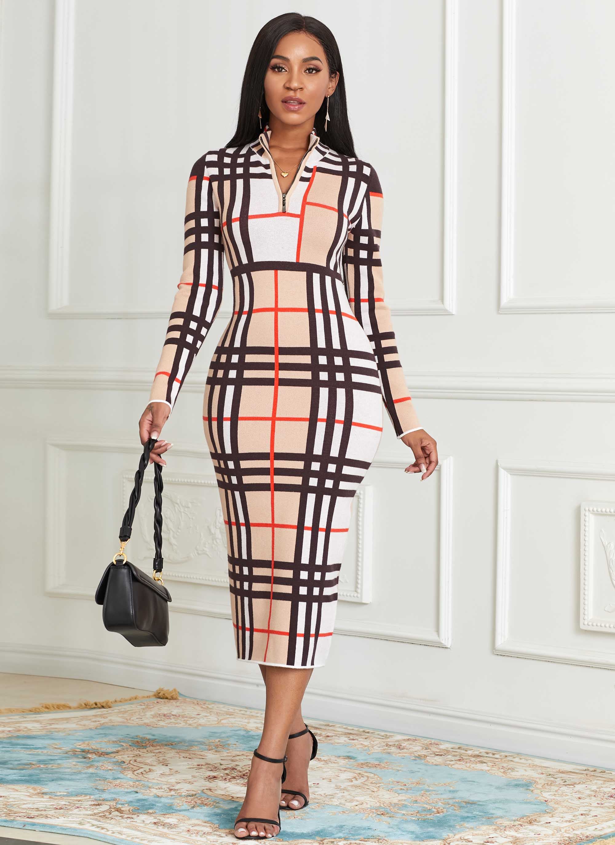 ROTITA Zip Front Long Sleeve Plaid Sweater Dress