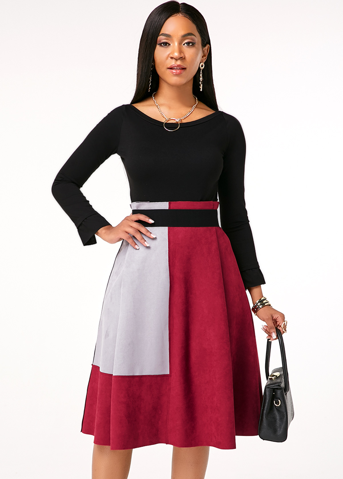 Long Sleeve Round Neck Top and Contrast Skirt