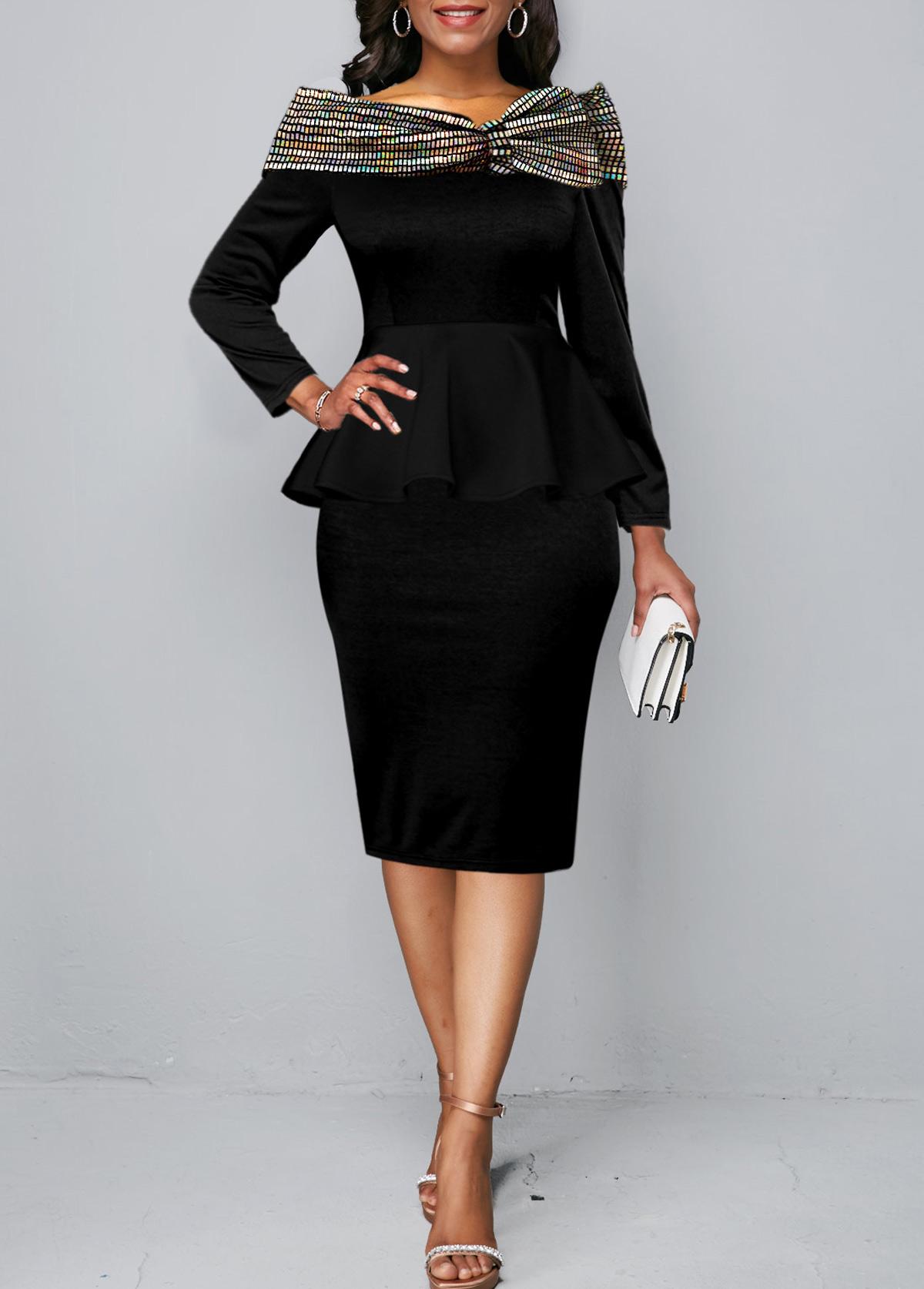 ROTITA Long Sleeve Sequin Contrast Peplum Waist Dress