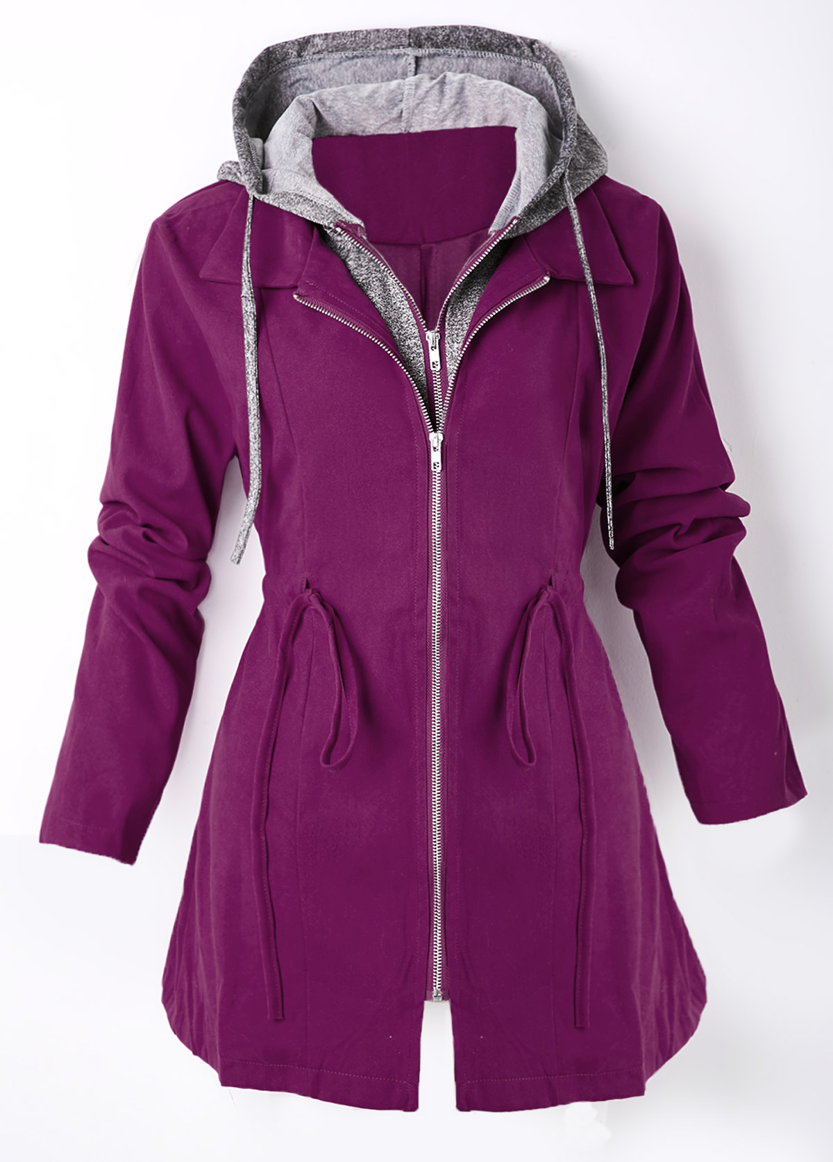 Hooded Collar Zipper Closure Drawstring Waist Jacket