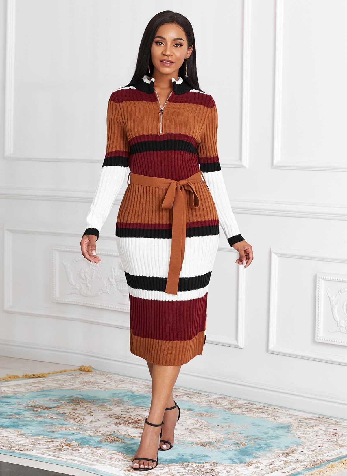 ROTITA Quarter Zip Long Sleeve Belted Sweater Dress