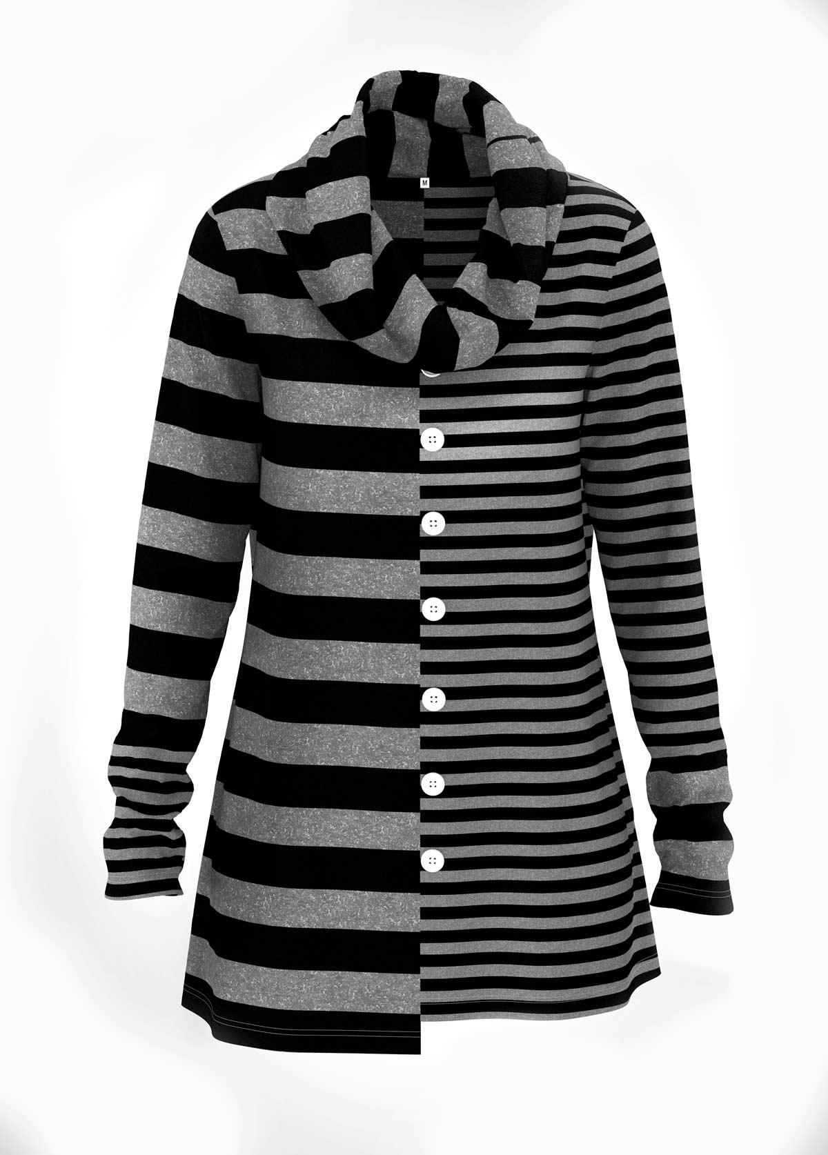 ROTITA Asymmetric Hem Striped Print Button Detail Tunic Top
