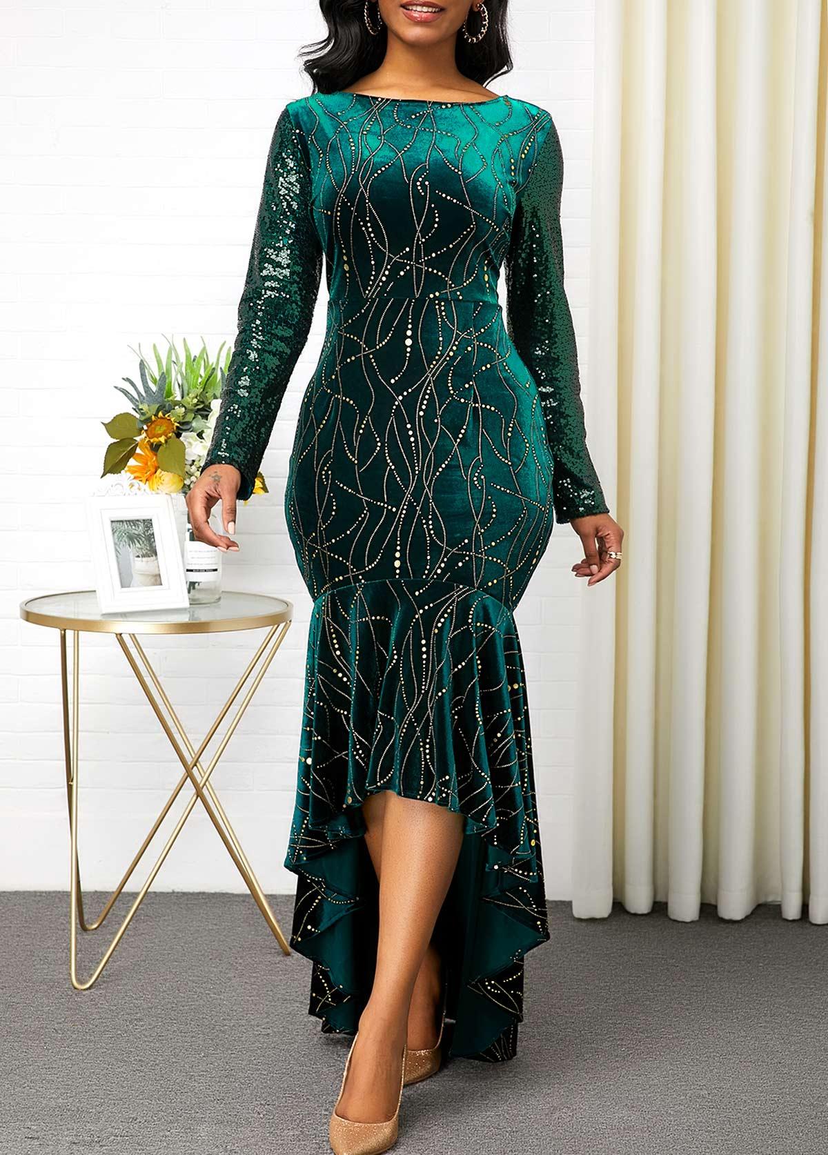 ROTITA Velvet Hot Stamping Sequin Sleeve Mermaid Dress