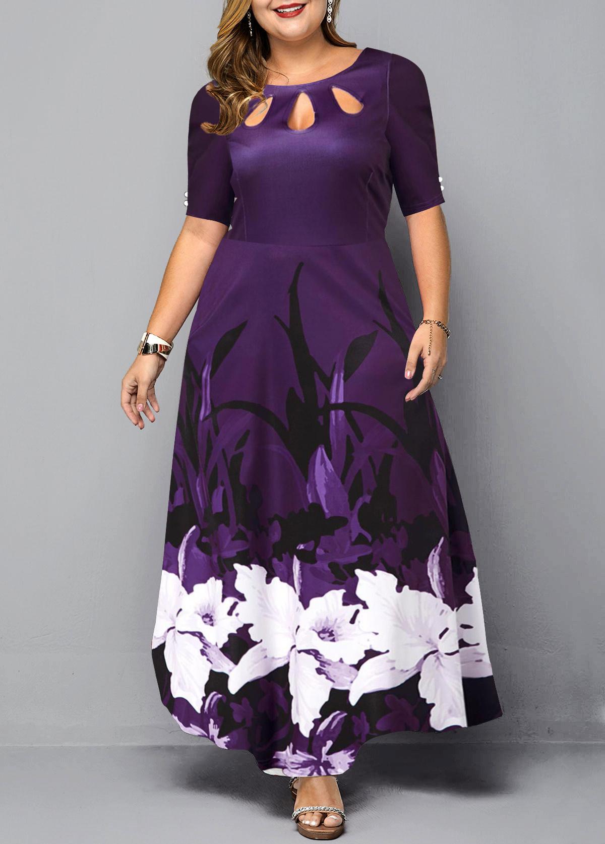 ROTITA Plus Size Keyhole Neckline Floral Print Dress