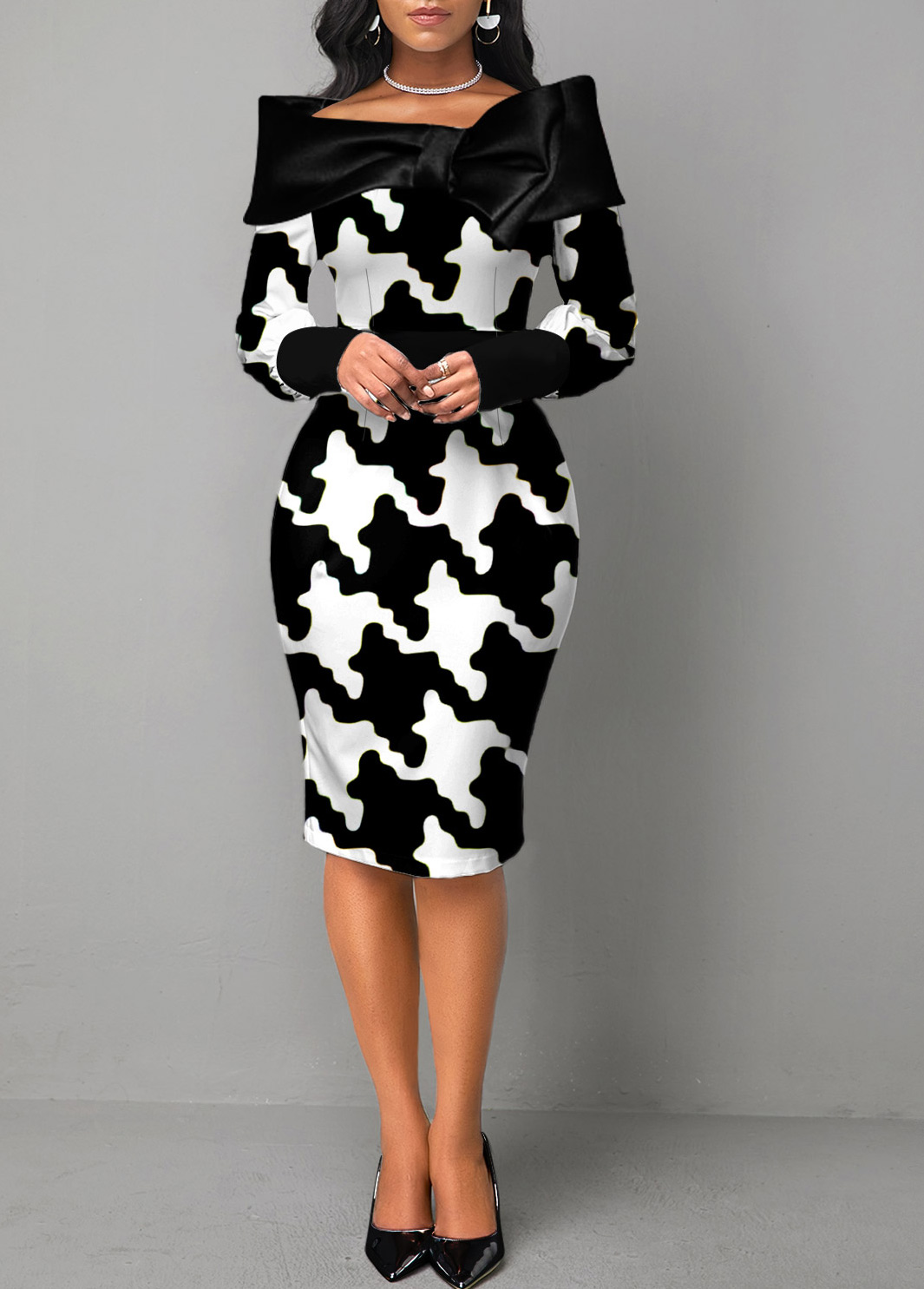 ROTITA Long Sleeve Houndstooth Print Color Block Dress