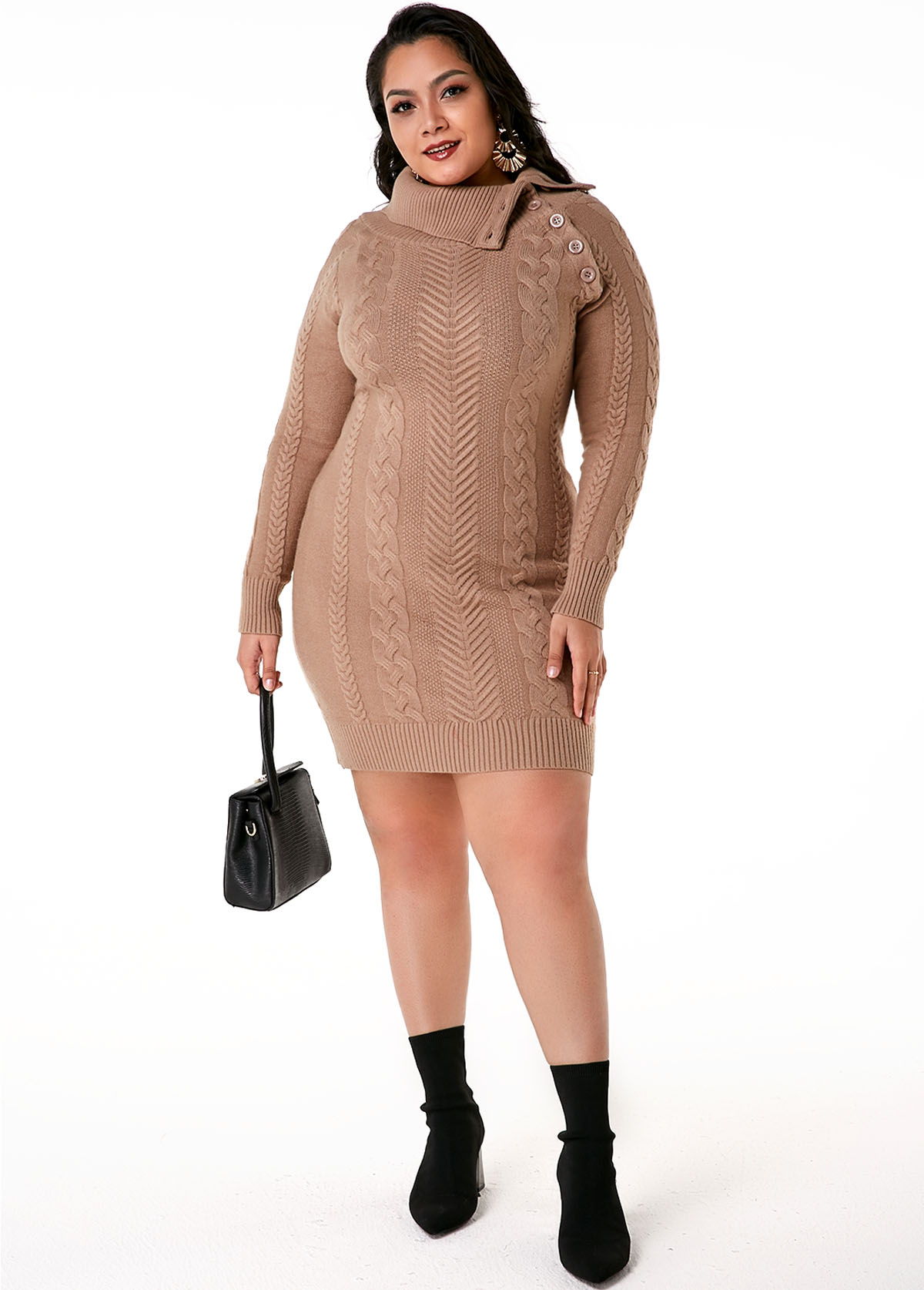 ROTITA Plus Size Flap Collar Cable Knit Dress