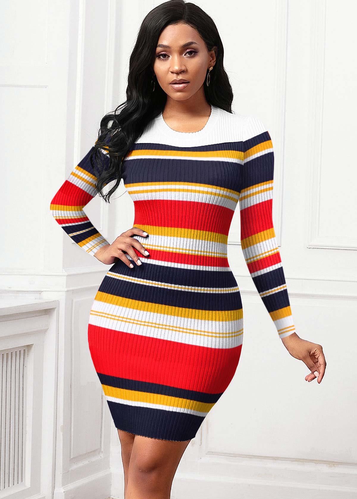 ROTITA Round Neck Rainbow Stripe Long Sleeve Sweater Dress