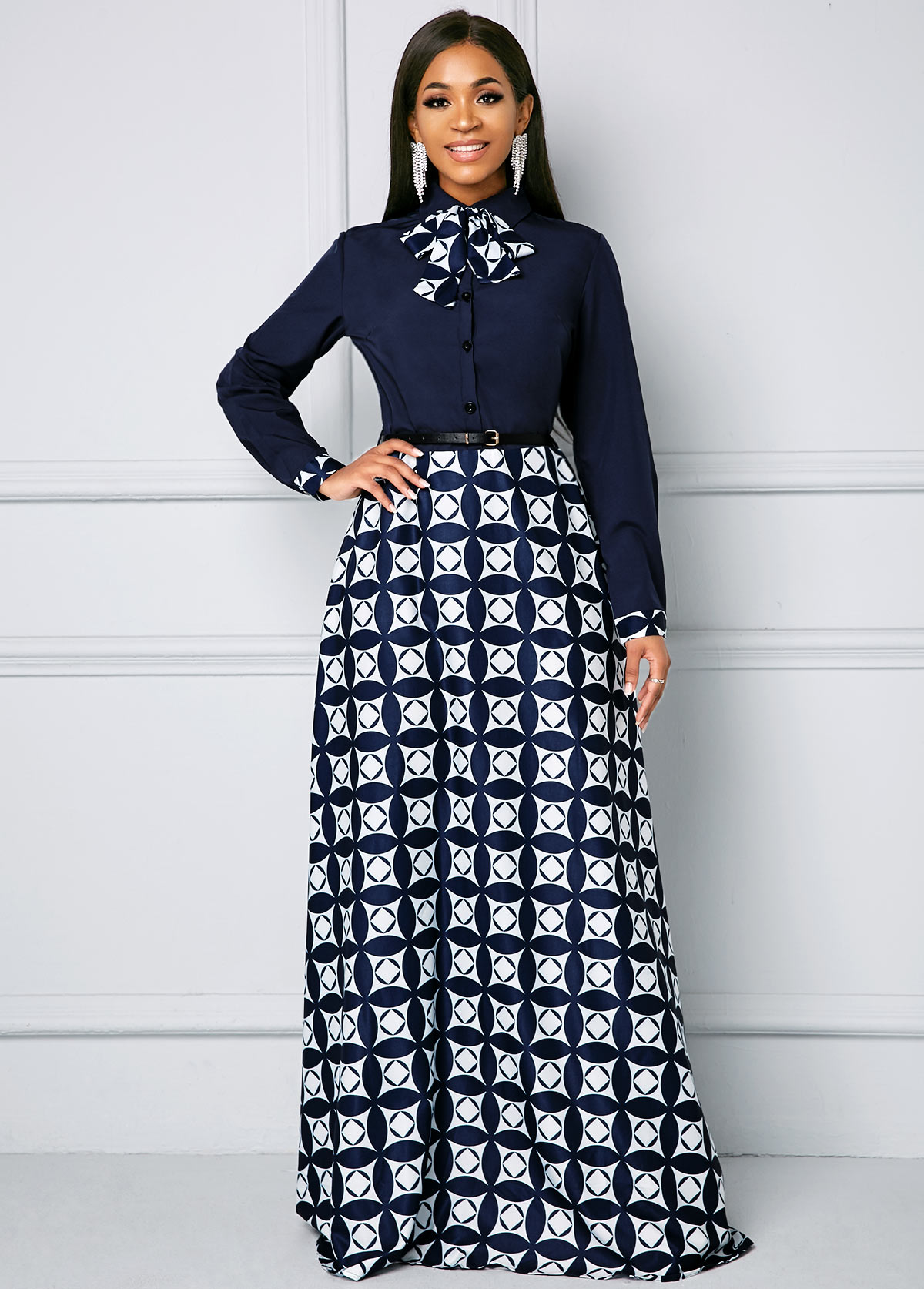 ROTITA Geometric Print Long Sleeve Bowknot Maxi Dress