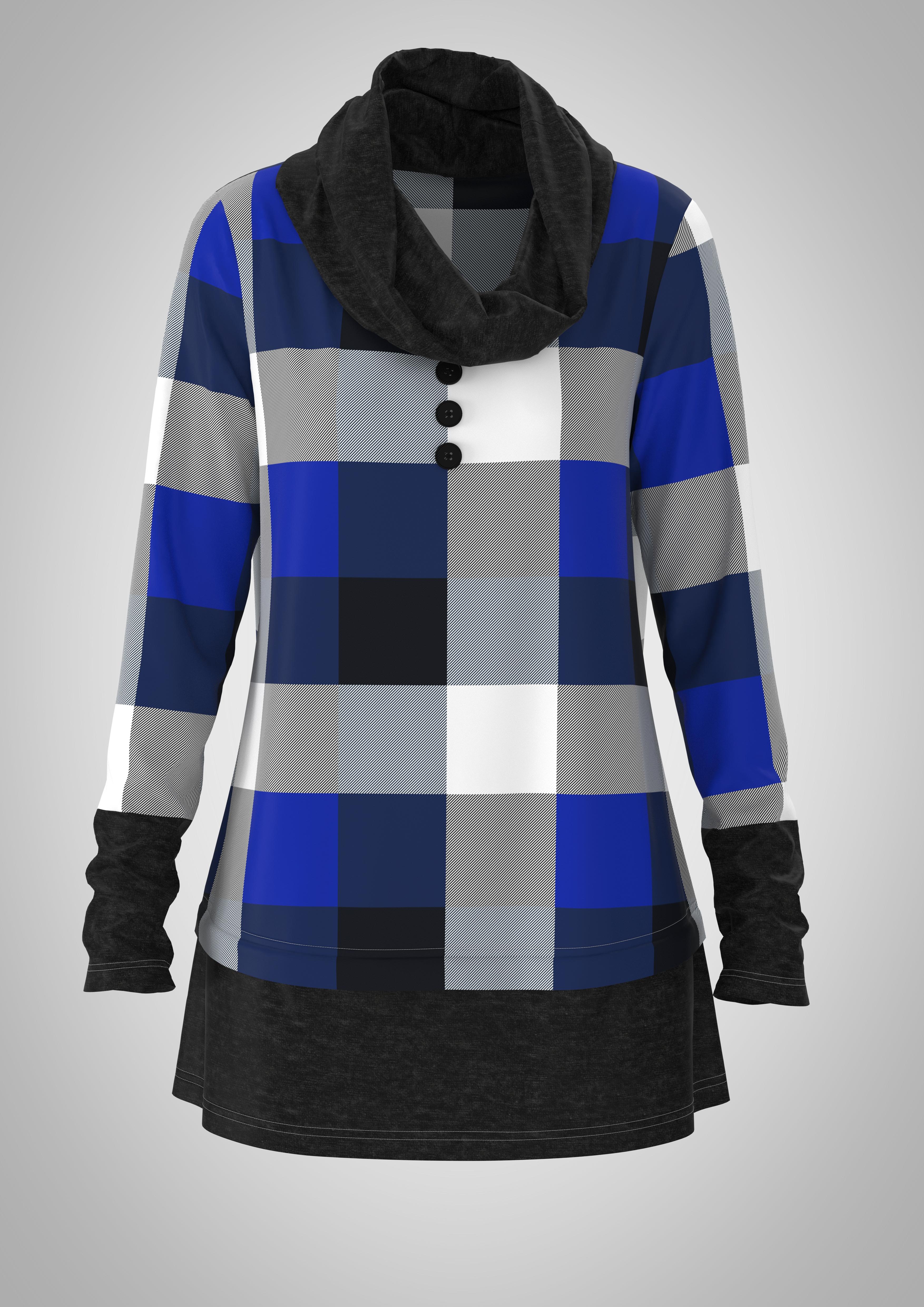 ROTITA Plaid Long Sleeve Cowl Neck Tunic Top