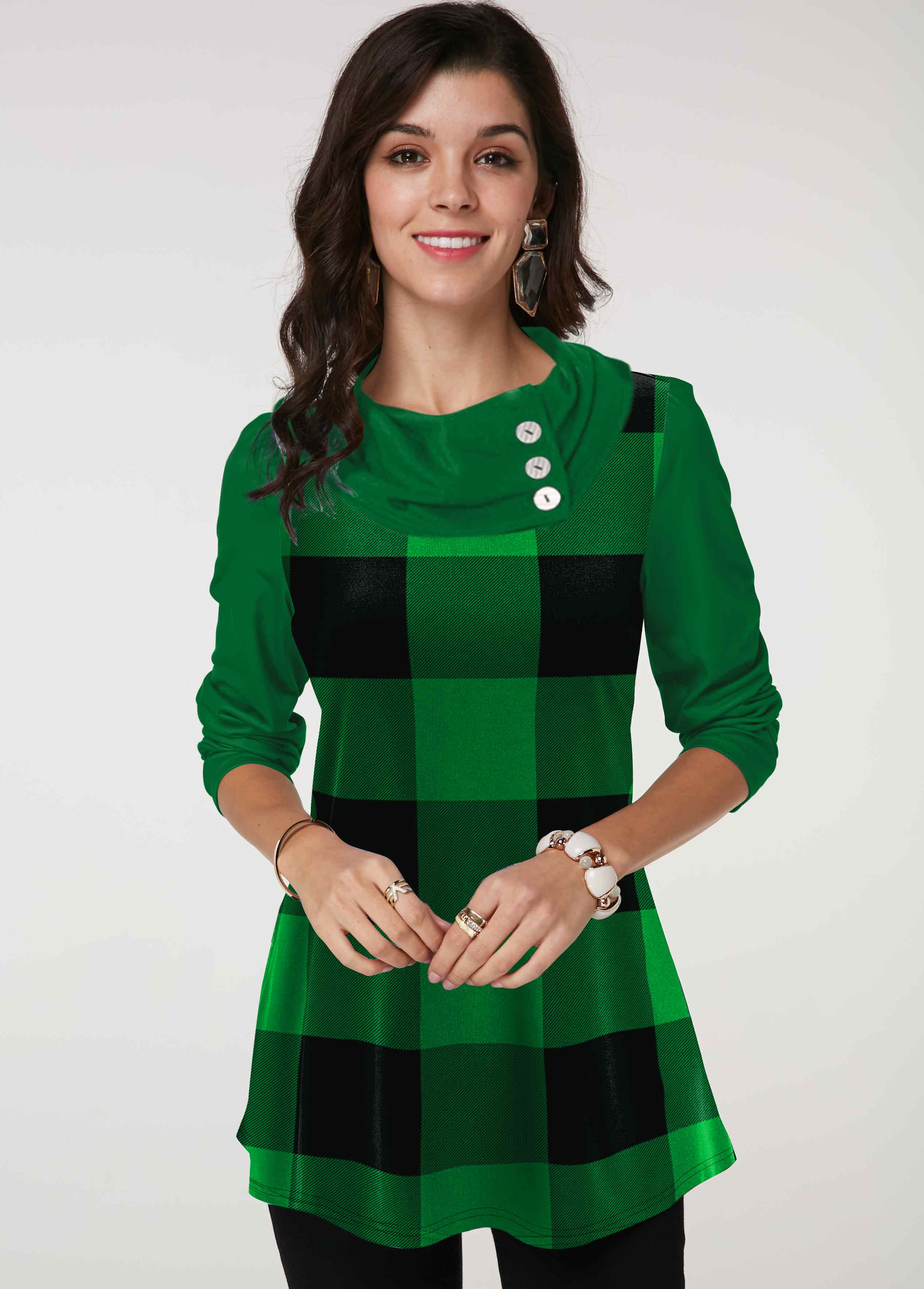 ROTITA Button Detail Cowl Neck Plaid Tunic Top