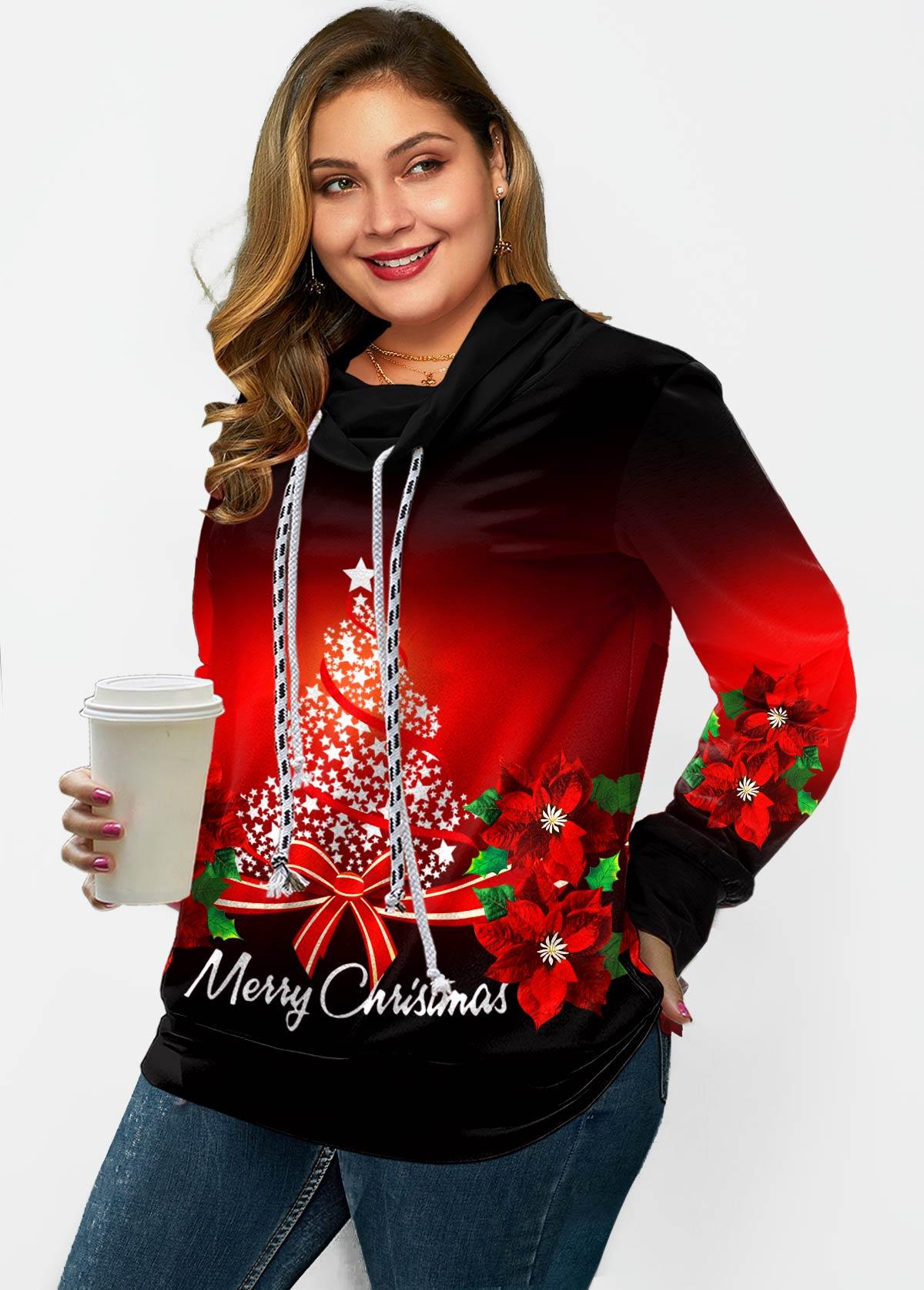 ROTITA Plus Size Drawstring Christmas Print Sweatshirt