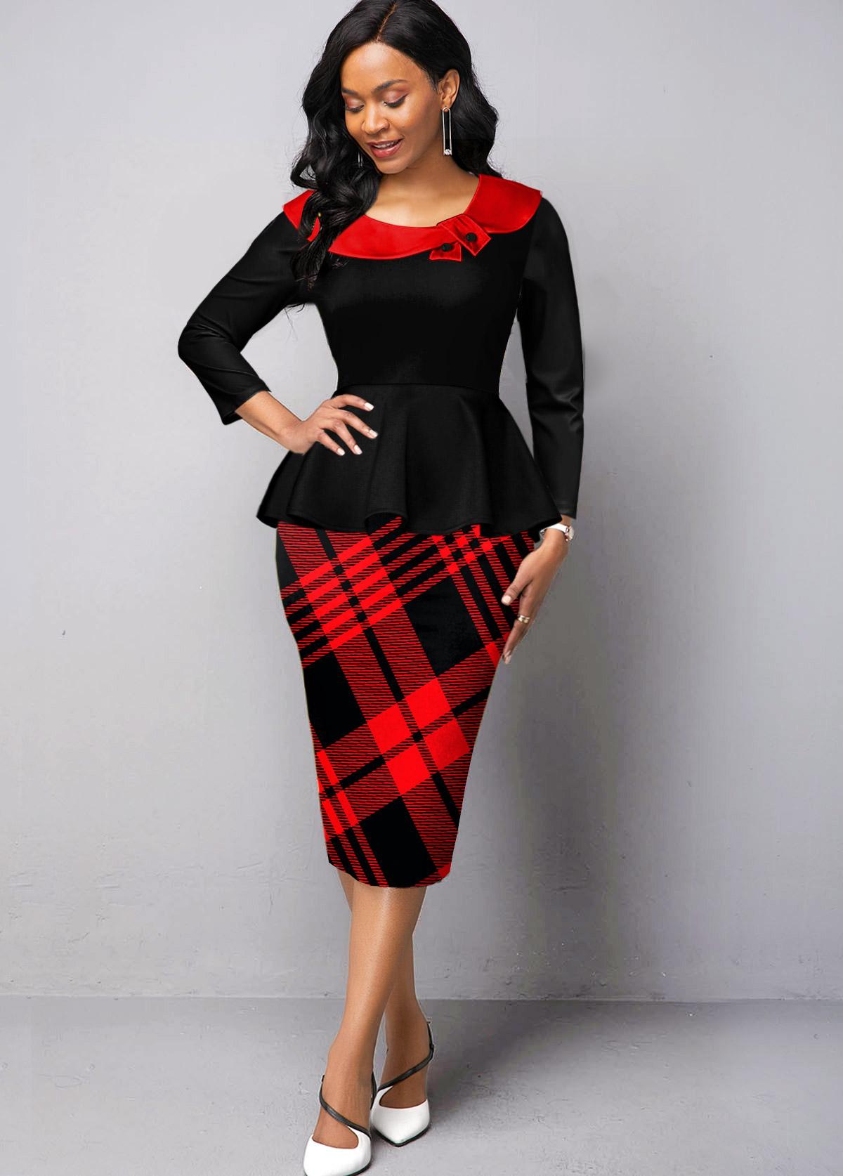 ROTITA Long Sleeve Faux Two Piece Plaid Dress