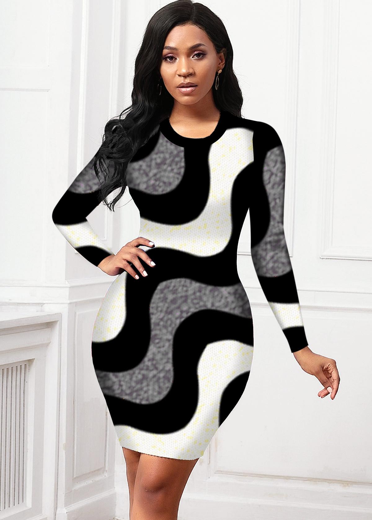 ROTITA Contrast Round Neck Long Sleeve Sweater Dress