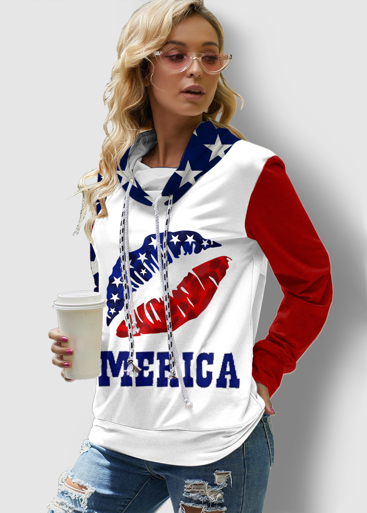 ROTITA American Flag Print Drawstring Long Sleeve Sweatshirt