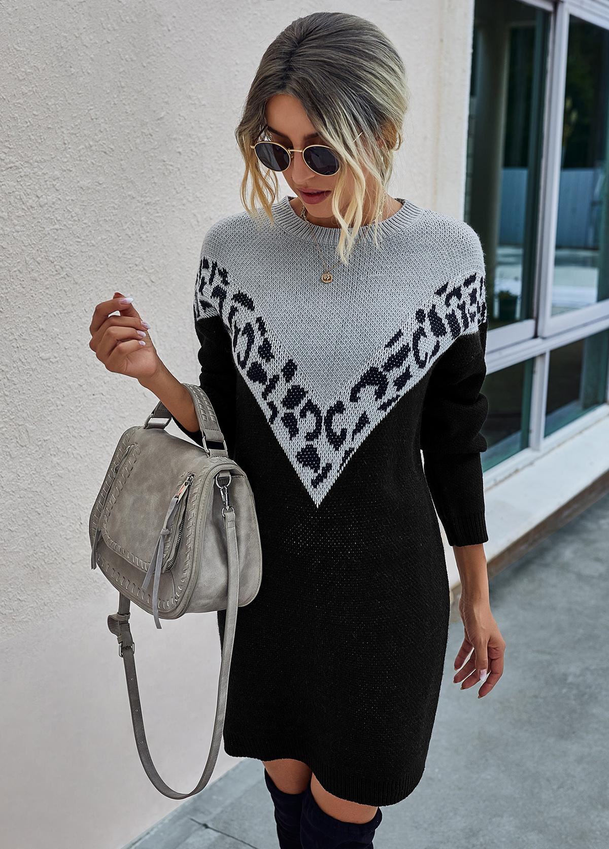 Leopard Long Sleeve Contrast Sweater Dress
