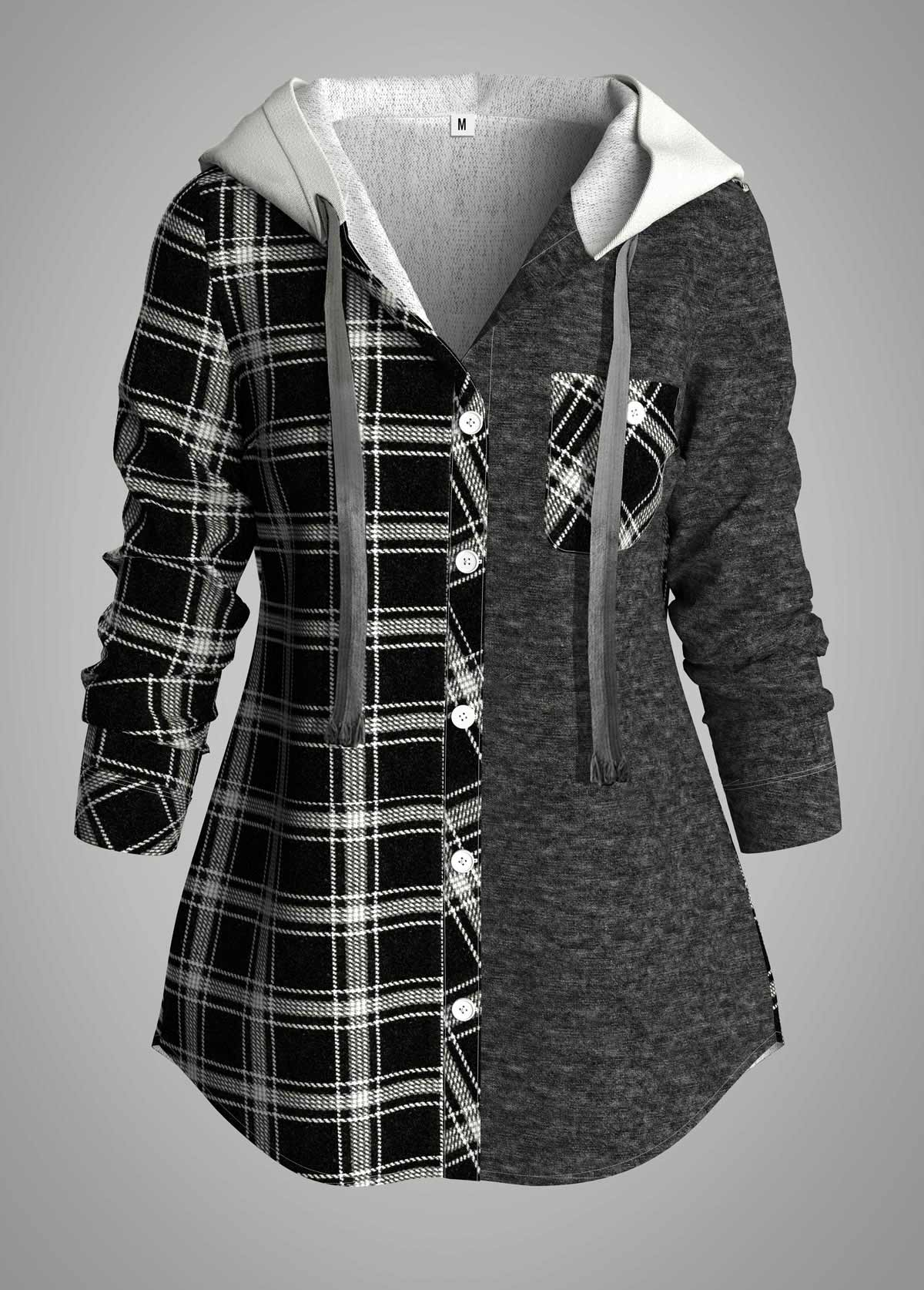 ROTITA Plus Size Plaid Contrast Hooded Collar Tunic Top