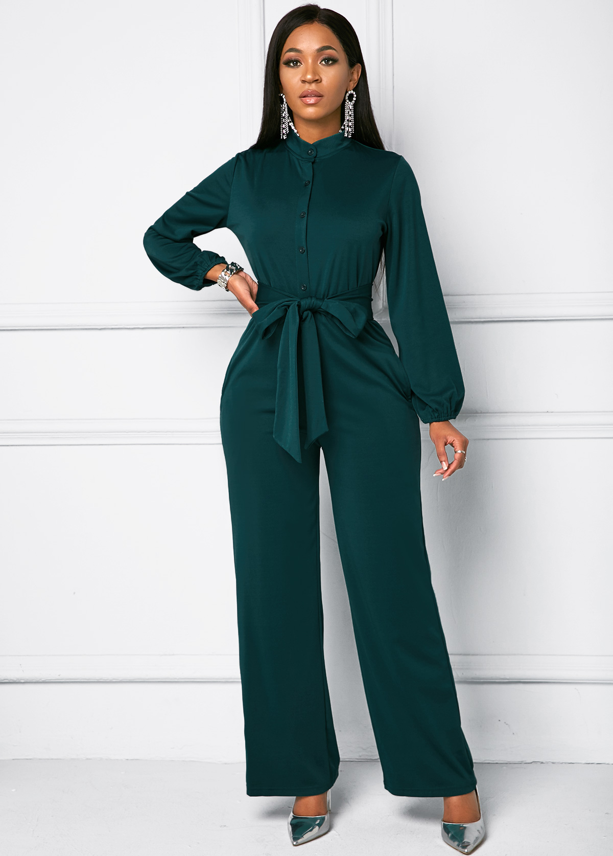 Long Sleeve Button Front Belted Jumpsuit