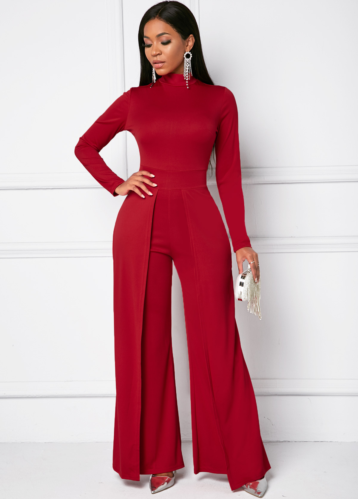 Mock Neck Long Sleeve Wide Leg Jumpsuit